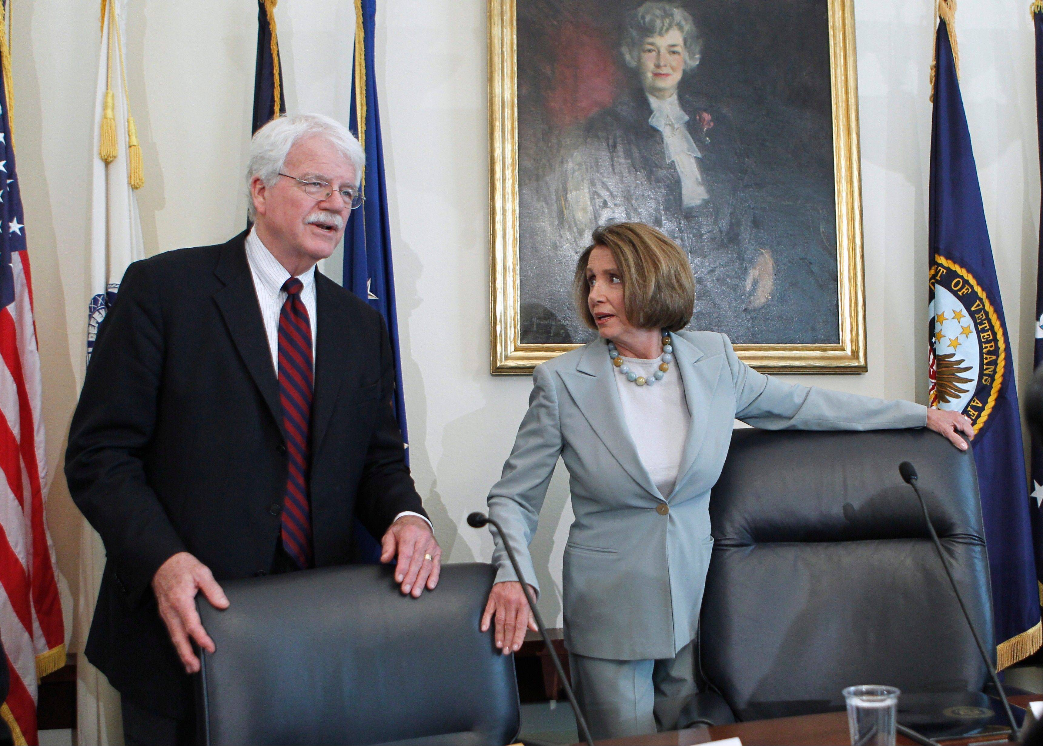 Rep. George Miller, left, and House Minority Leader Nancy Pelosi are seen in this photo from 2011. Miller, the top Democrat on the House Education and Workforce Committee and a longtime confidant of Pelosi, announced Monday he will not seek re-election in 2014 after four decades in Congress.