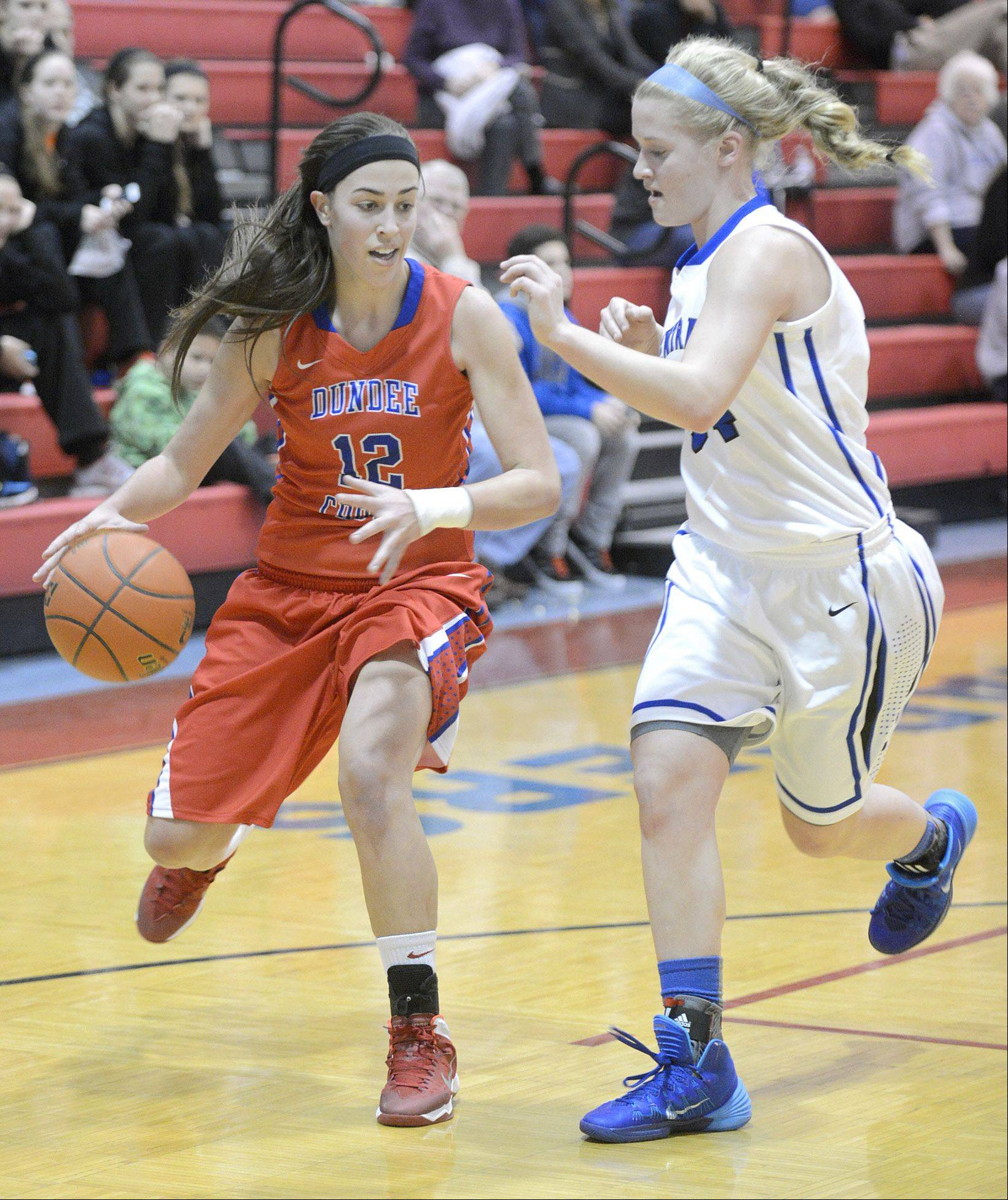 Dundee-Crown�s Lauren Lococo (12) looks to find a way around Burlington Central�s Sam Pryor during the Charger Classic at D-C.