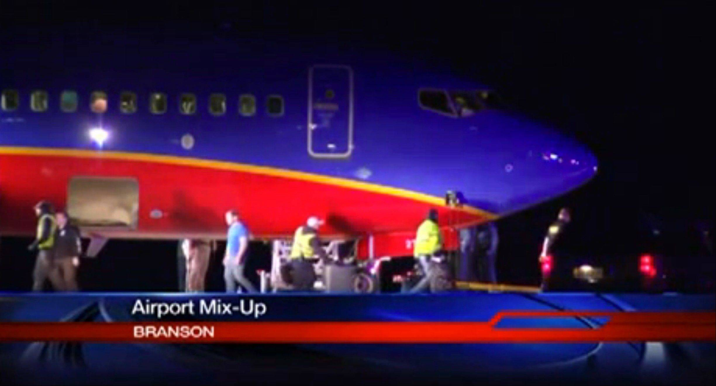 A Southwest Airlines flight that was scheduled to arrive Sunday at Branson Airport in southwest Missouri instead landed at an airport 7 miles north -- with a runway about half the size of the intended destination.