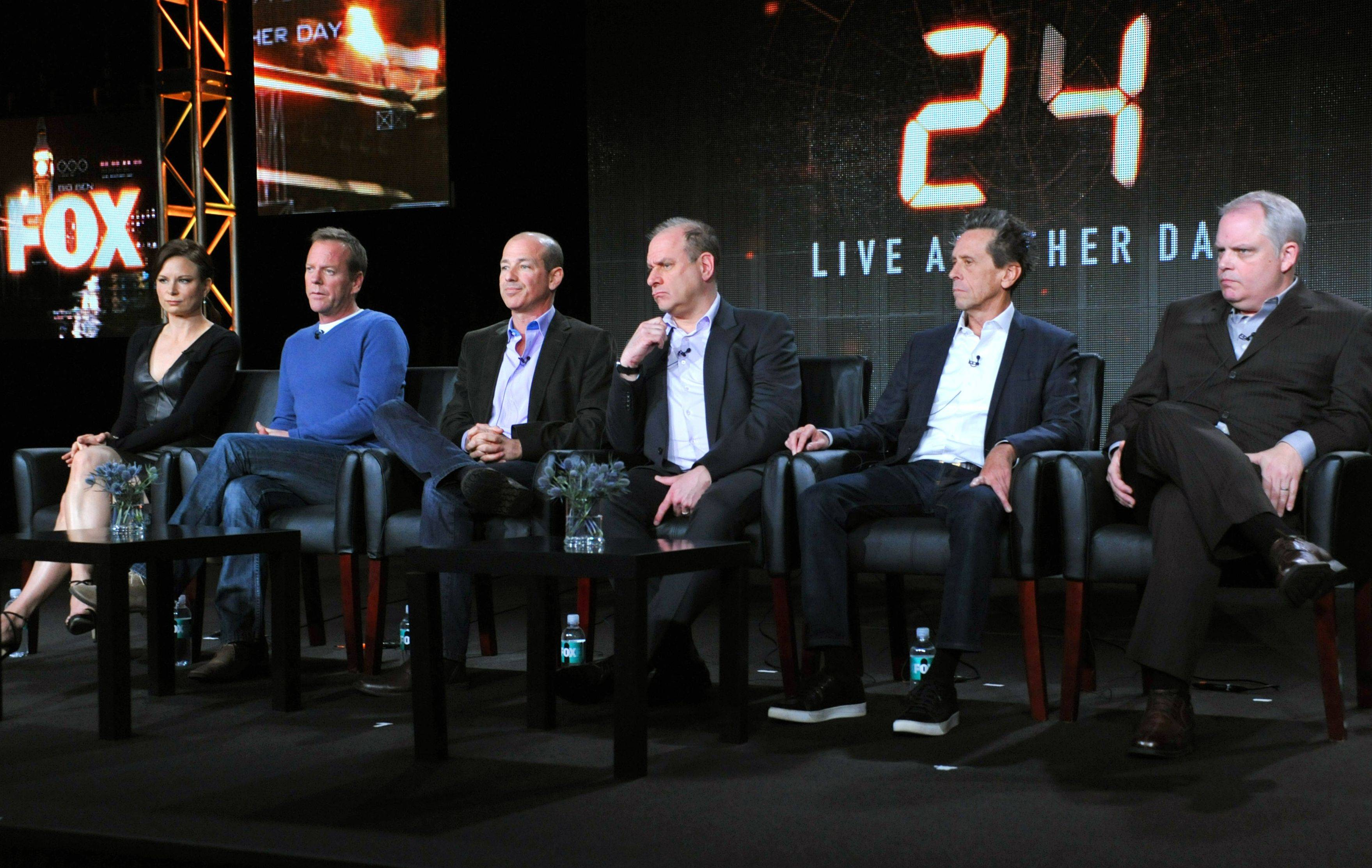 "Mary Lynn Rajskub, from left, Kiefer Sutherland, and executive producers Howard Gordon, Evan Katz, Brian Grazer and Manny Coto attend the panel for ""24: Live Another Day"" at the FOX Winter 2014 TCA on Monday at the Langham Hotel in Pasadena, Calif."