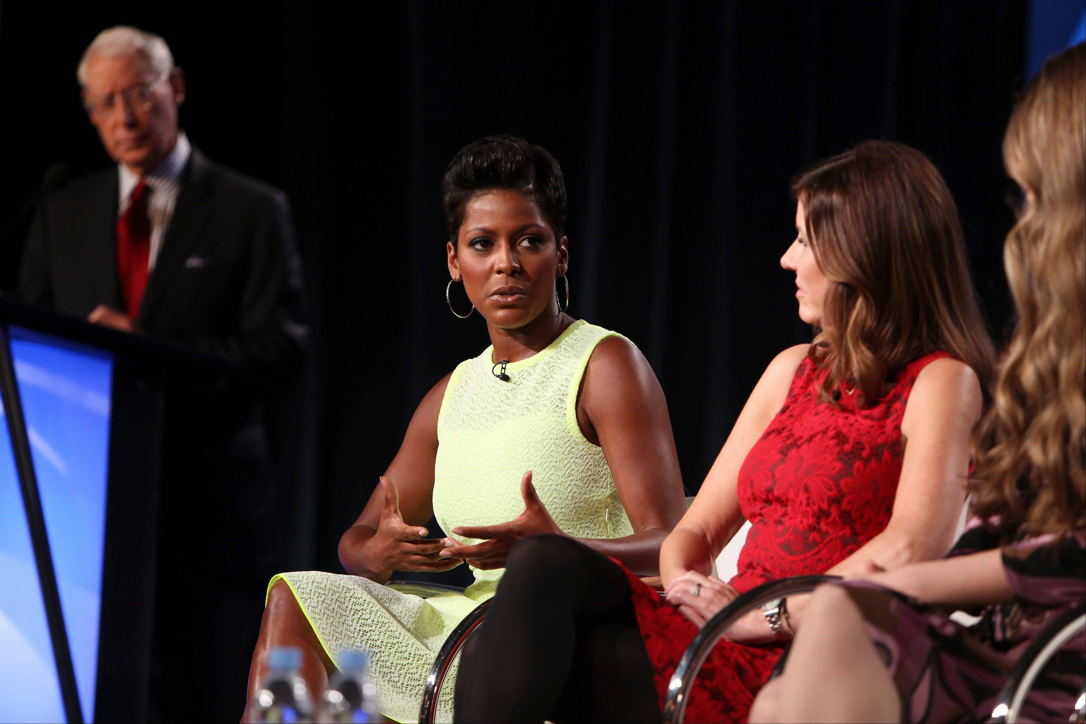 "Henry Schleiff, left, Group President; Tamron Hall, host of ""Deadline: Crime with Tamron Hall"": Sharon Scott, Executive Vice President of NBC News' Peacock Productions; and Alicia Kozakiewica, Internet Safety & Awareness Advocate and Founder of the Alicia Project, speak during the Discovery Communications TCA Panel Thursday at The Langham Hotel in Pasadena, Calif. NBC's Hall says her work on the series ""Deadline Crime"" is partly motivated by the feeling that she failed her sister, who was murdered in 2004."