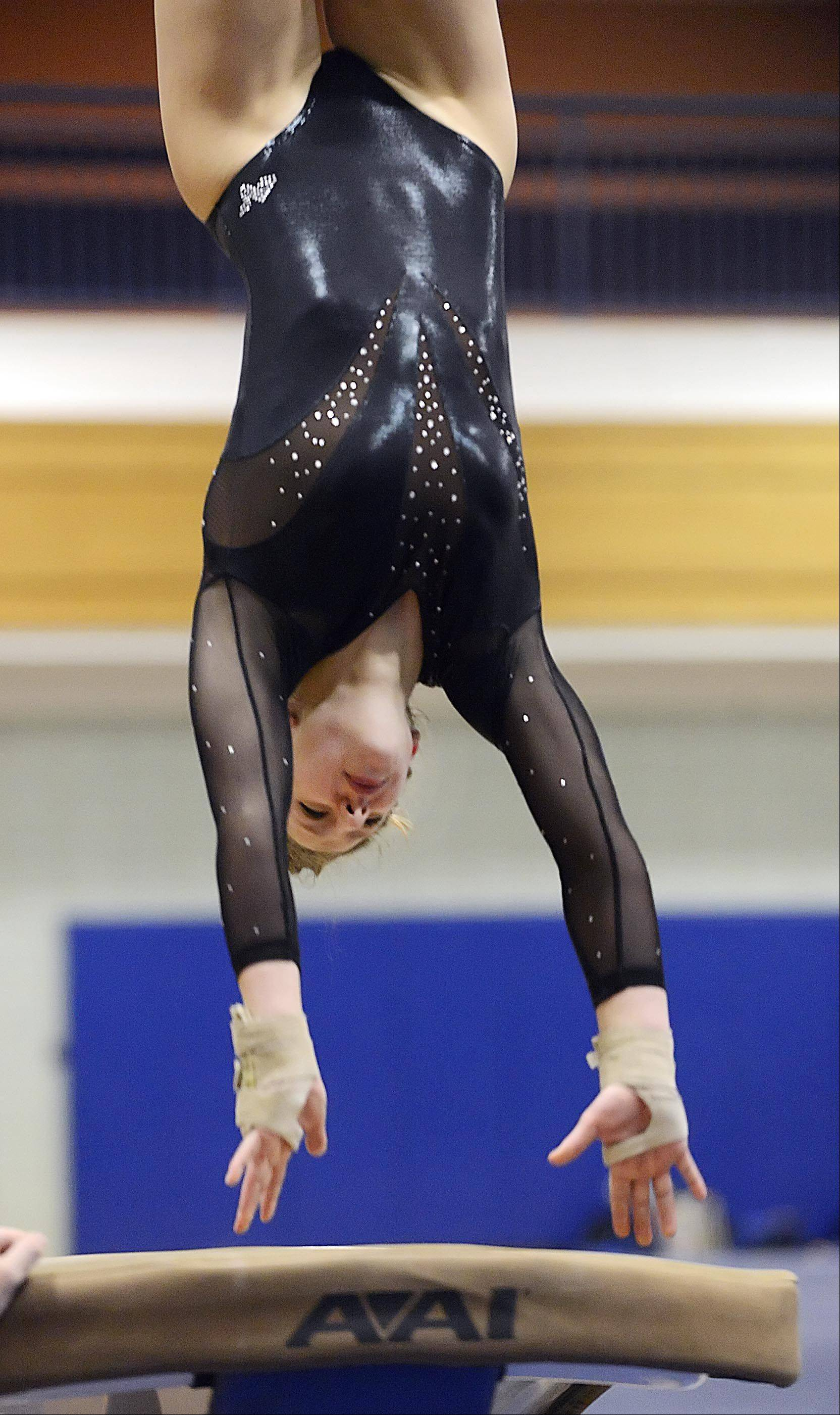 St. Charles co-op's Cathryn Gotlund competes against Geneva Monday in Geneva.