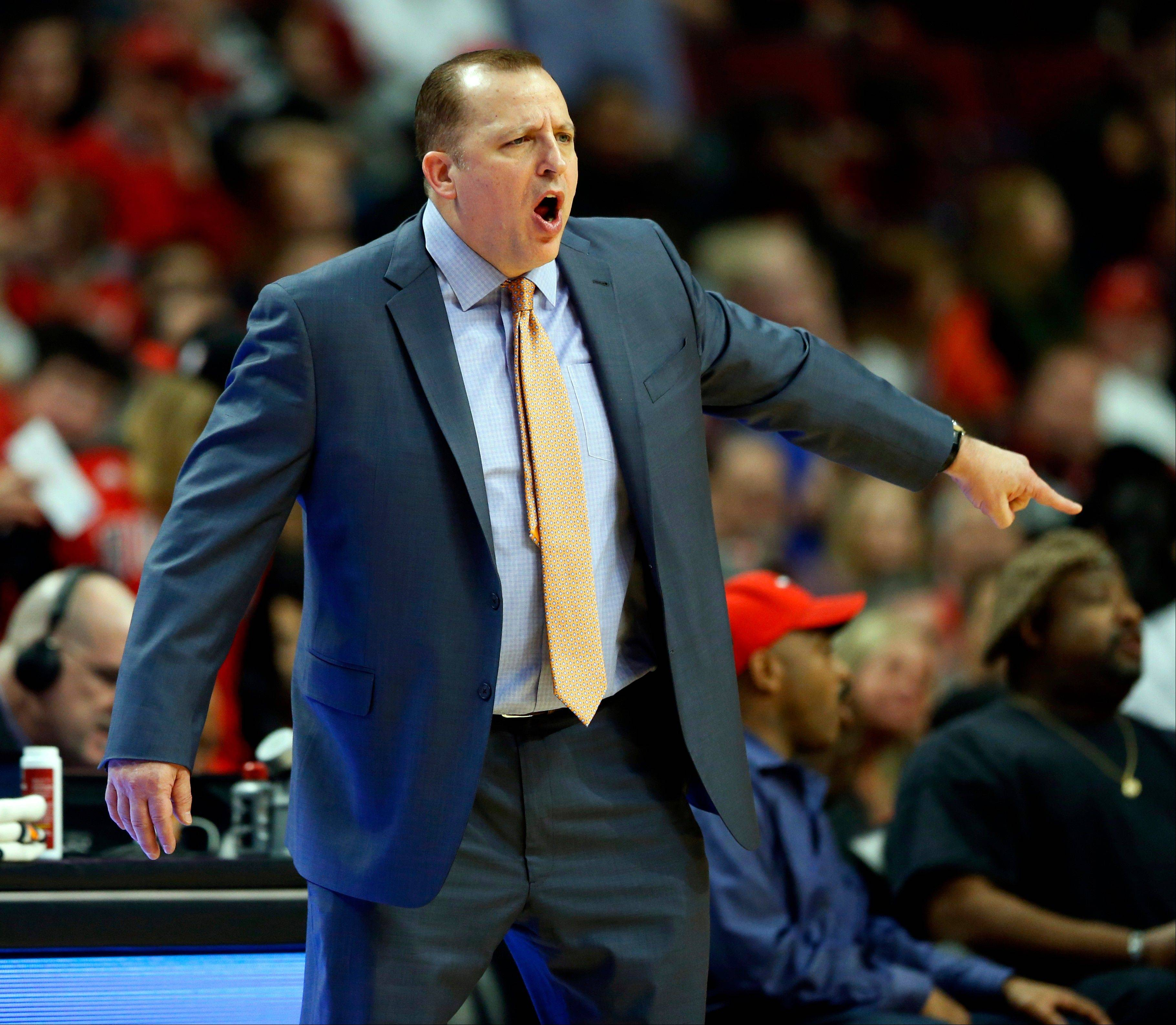 Tom Thibodeau directs his team against the Charlotte Bobcats during the second half of an NBA basketball game in Chicago, Saturday, Jan. 11, 2014. The Bulls won 103-97.