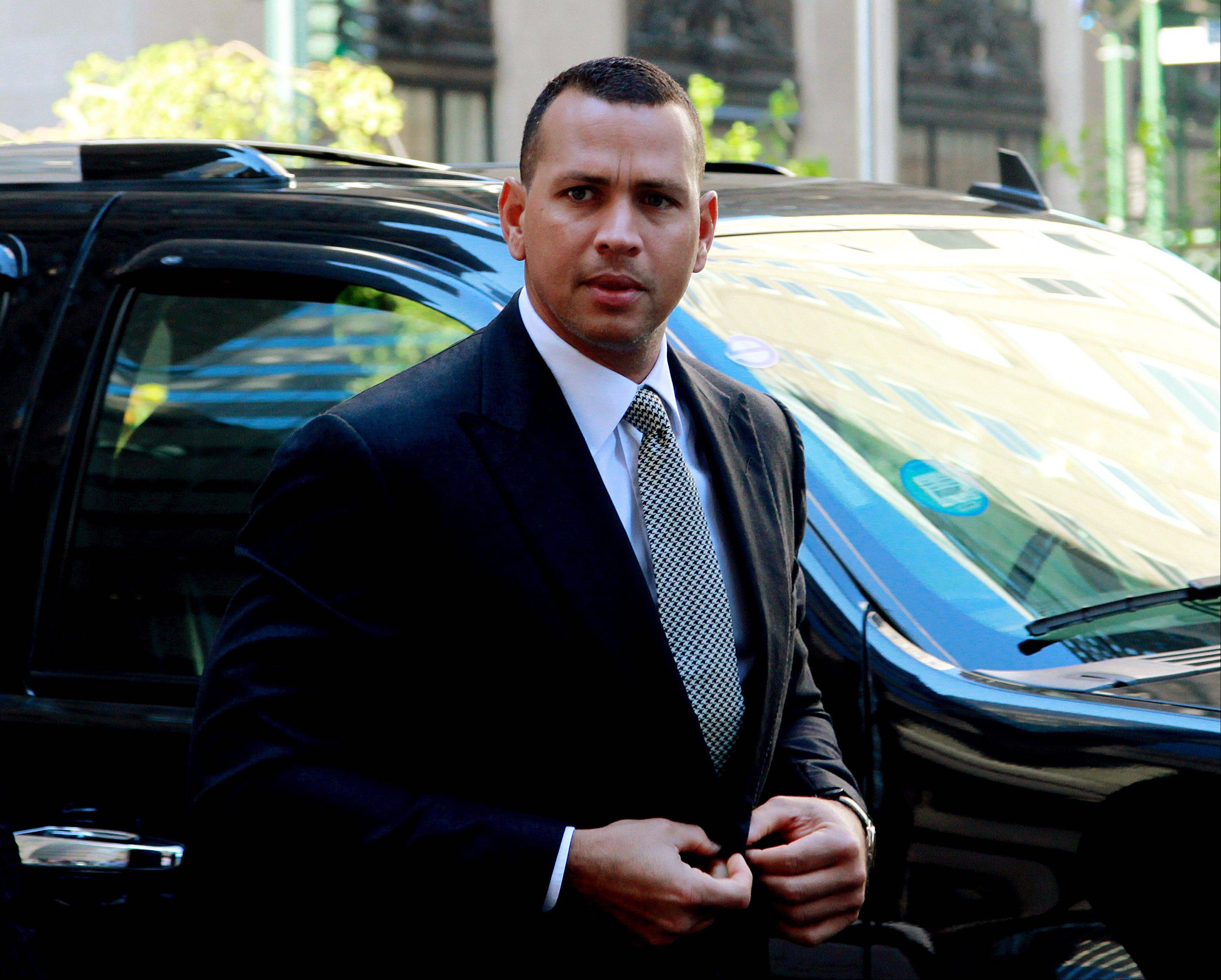 "This Oct. 1, 2013, file photo shows New York Yankees' Alex Rodriguez arrivng at the offices of Major League Baseball in New York. Rodriguez sued Major League Baseball and its players' union Monday, Jan. 13, 2014 seeking to overturn a season-long suspension imposed by an arbitrator who ruled there was ""clear and convincing evidence"" he used three banned substances and twice tried to obstruct the sport's drug investigation."