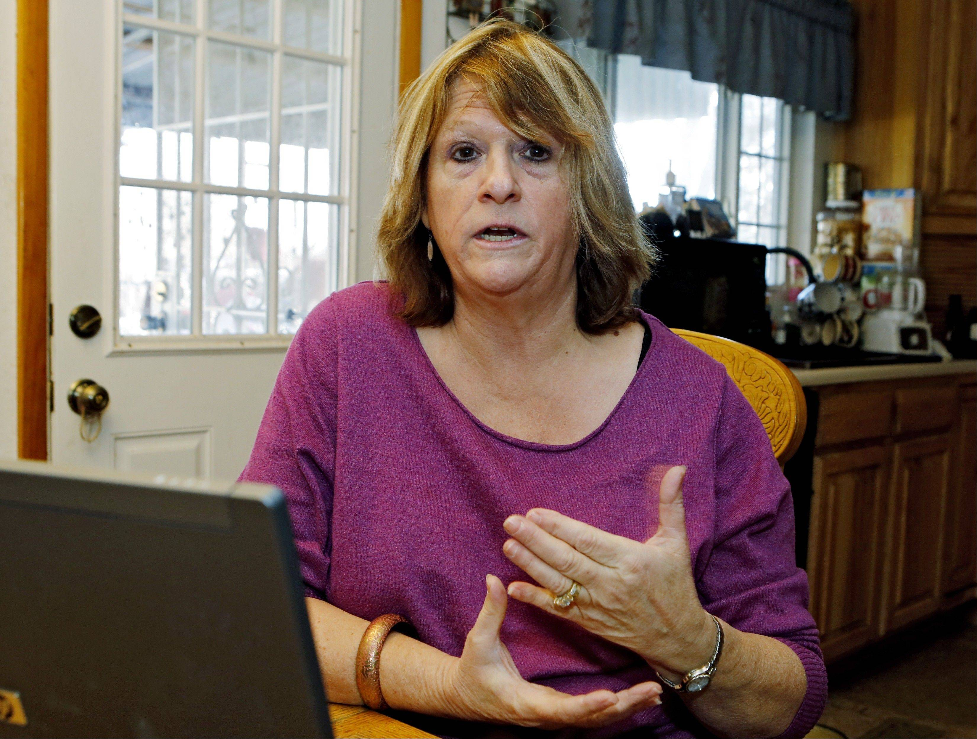 Nita Ness, 58, talks about her unemployment status at her home in Colorado Springs, Colo. Ness, who lost her job as a civilian contractor at Peterson Air Force Base in August 2012 and just received her final check from the unemployment office. She said �I�m registered as a Republican, but if they continue to use this not extending our [aid] I�m probably changing to Democrat.�