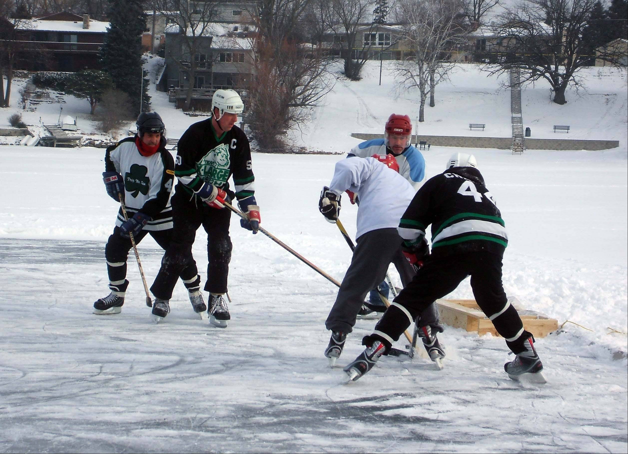 The weather was too warm the past two years, but the inaugural Lake in the Hills Outdoor Pond Hockey Tournament was a success in 2011.
