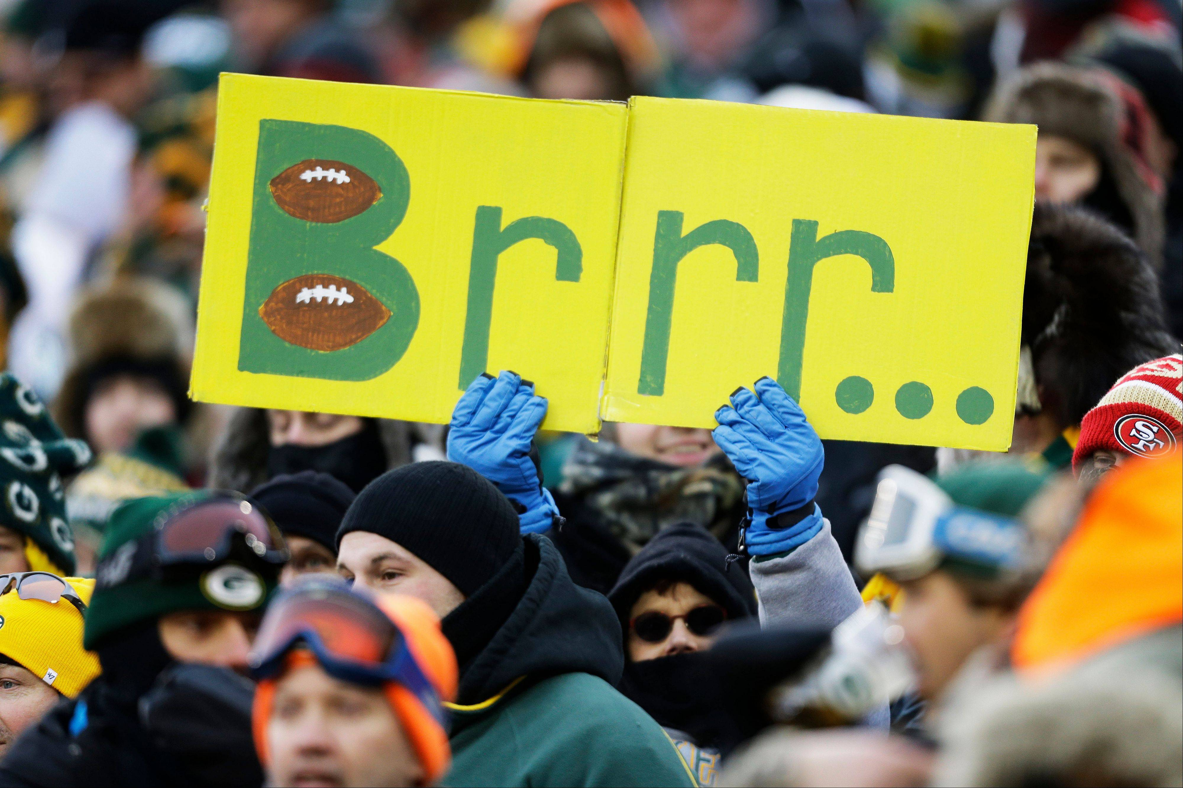 A fan holds up a weather-related sign during the first half of an NFL wild-card playoff football game between the Green Bay Packers and the San Francisco 49ers, in Green Bay, Wis. Fox Sports will use this weekend's NFC title game in Seattle between the San Francisco 49ers and the Seahawks to test an infrared camera that will show how players' body temperatures change throughout the game.