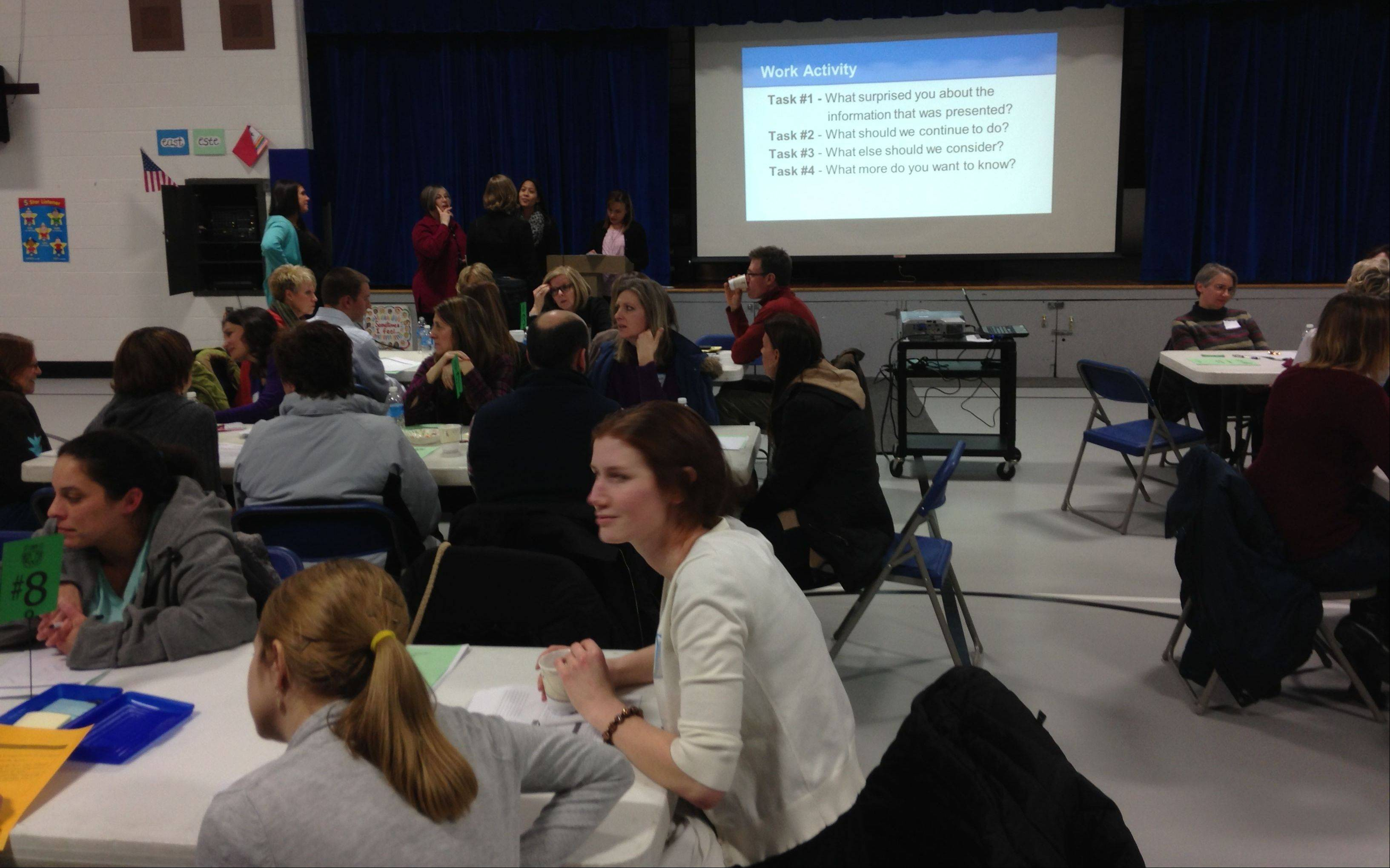 Parents and others discuss the status of Davis Richmond School in St. Charles, at a workshop that will help develop a court-mandated school improvement plan.