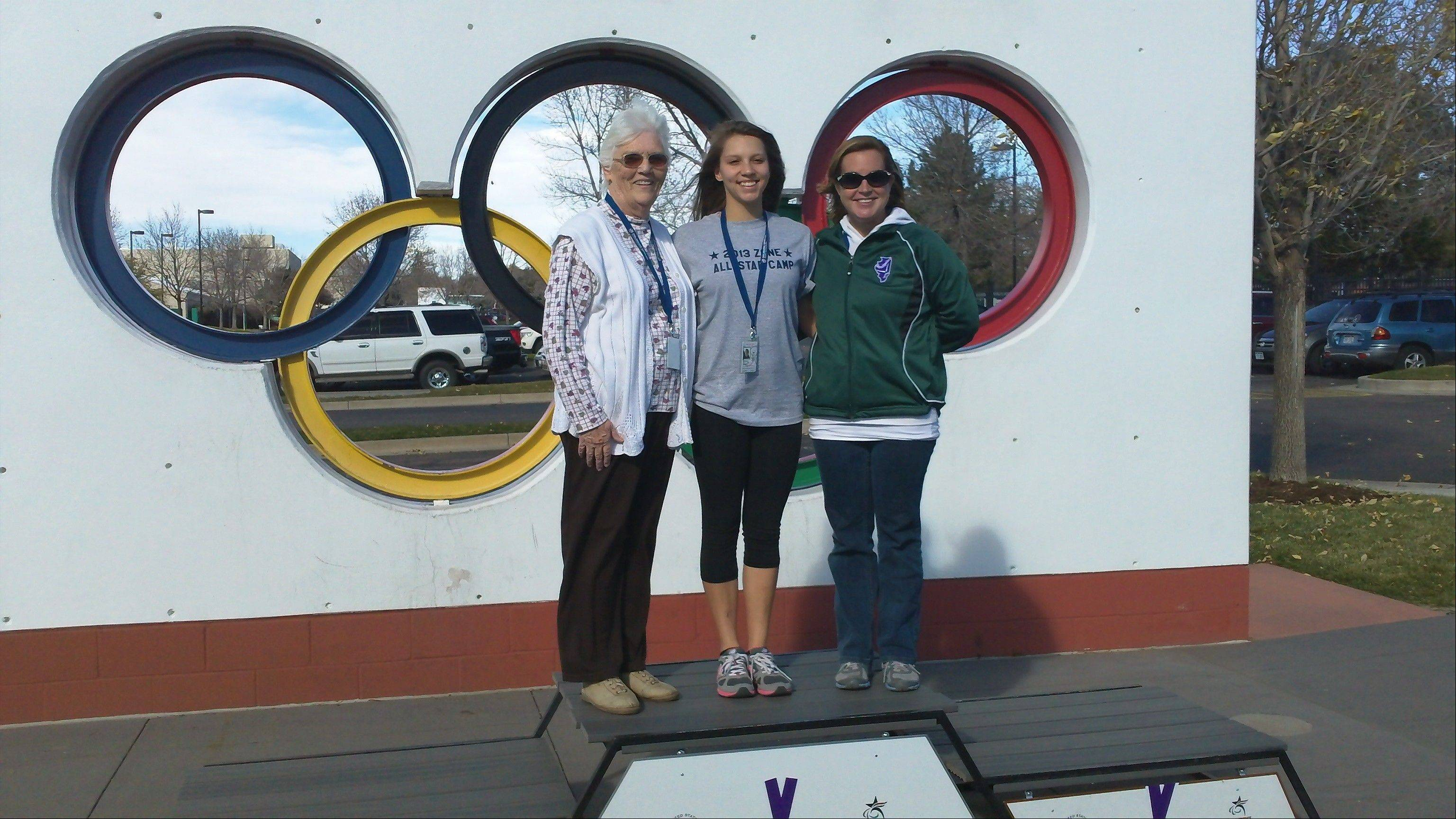 Pictured, from left, at the Olympic Training Center in Colorado, are: Head Coach Nan Zack of Mount Prospect, athlete Sasha Boudko of Wadsworth, and coach Veronica Morgan of Rolling Meadows.