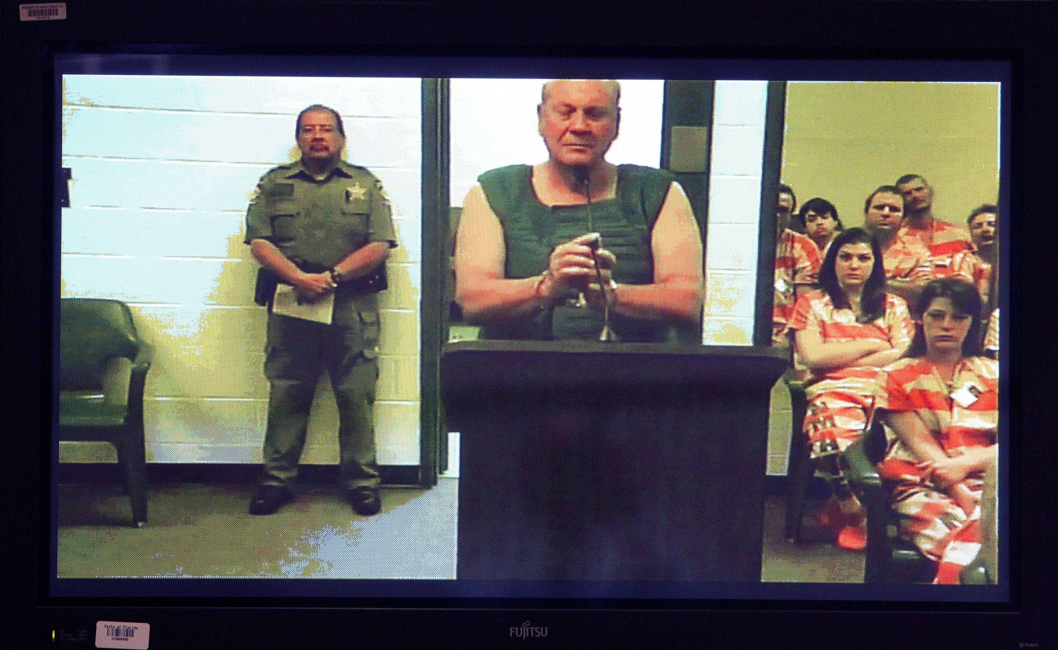 Curtis Reeves appears via video conference before Circuit Judge Lynn Tepper in Wesley Chapel, Fla. on Tuesday, Jan. 14, 2014. Tepper ordered Reeves, 71, held without bond on a charge of second-degree murder in the death of 43-year-old Chad Oulson on Monday. An argument over texting in a movie theater ended with Reeves, a retired police captain fatally shooting Oulson, authorities said.