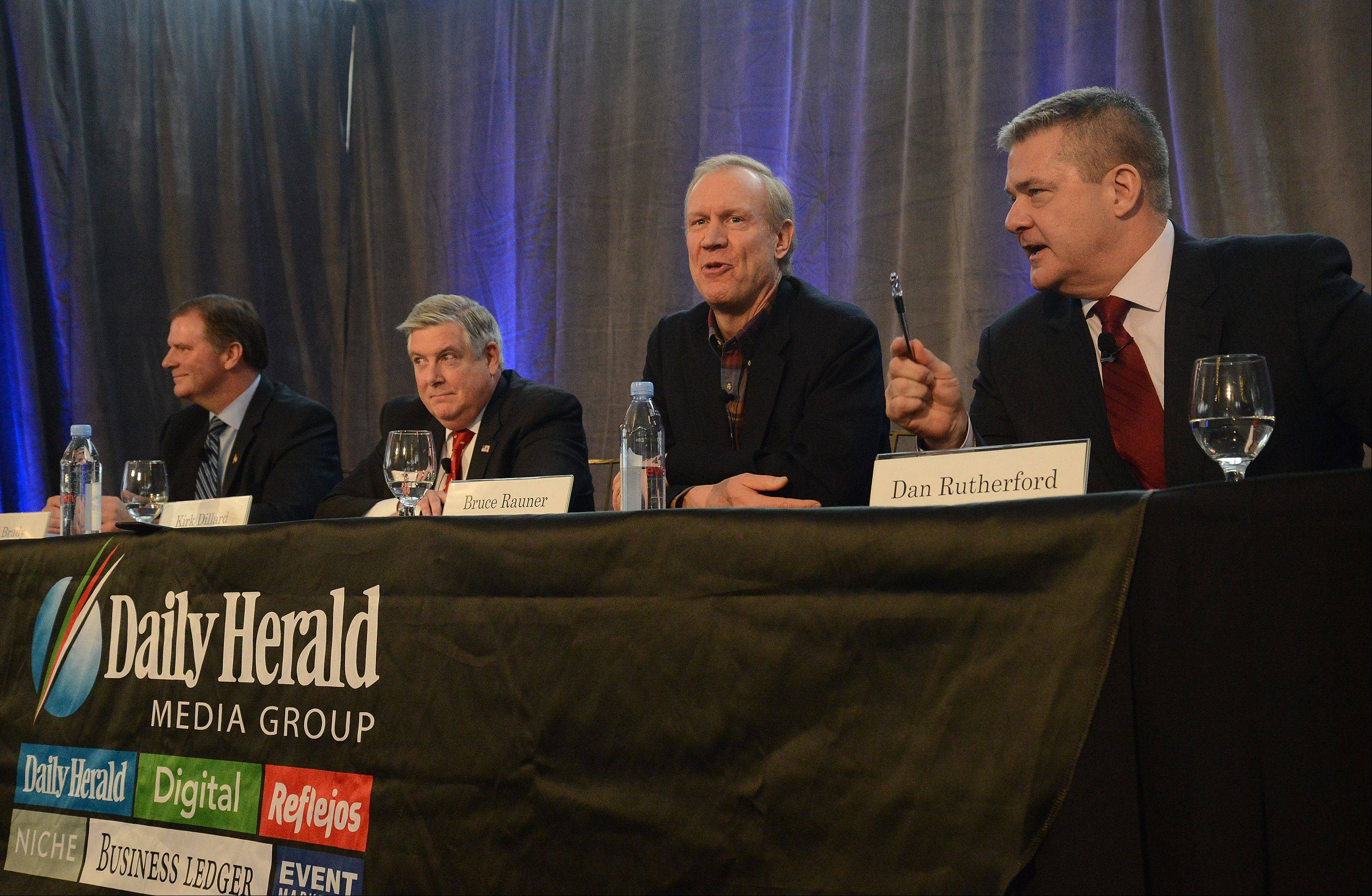 GOP gubernatorial candidates, from left, state Sen. Bill Brady, state Sen. Kirk Dillard, Bruce Rauner and Illinois Treasurer Dan Rutherford talk Thursday about issues important to them at a candidates forum in Mount Prospect.