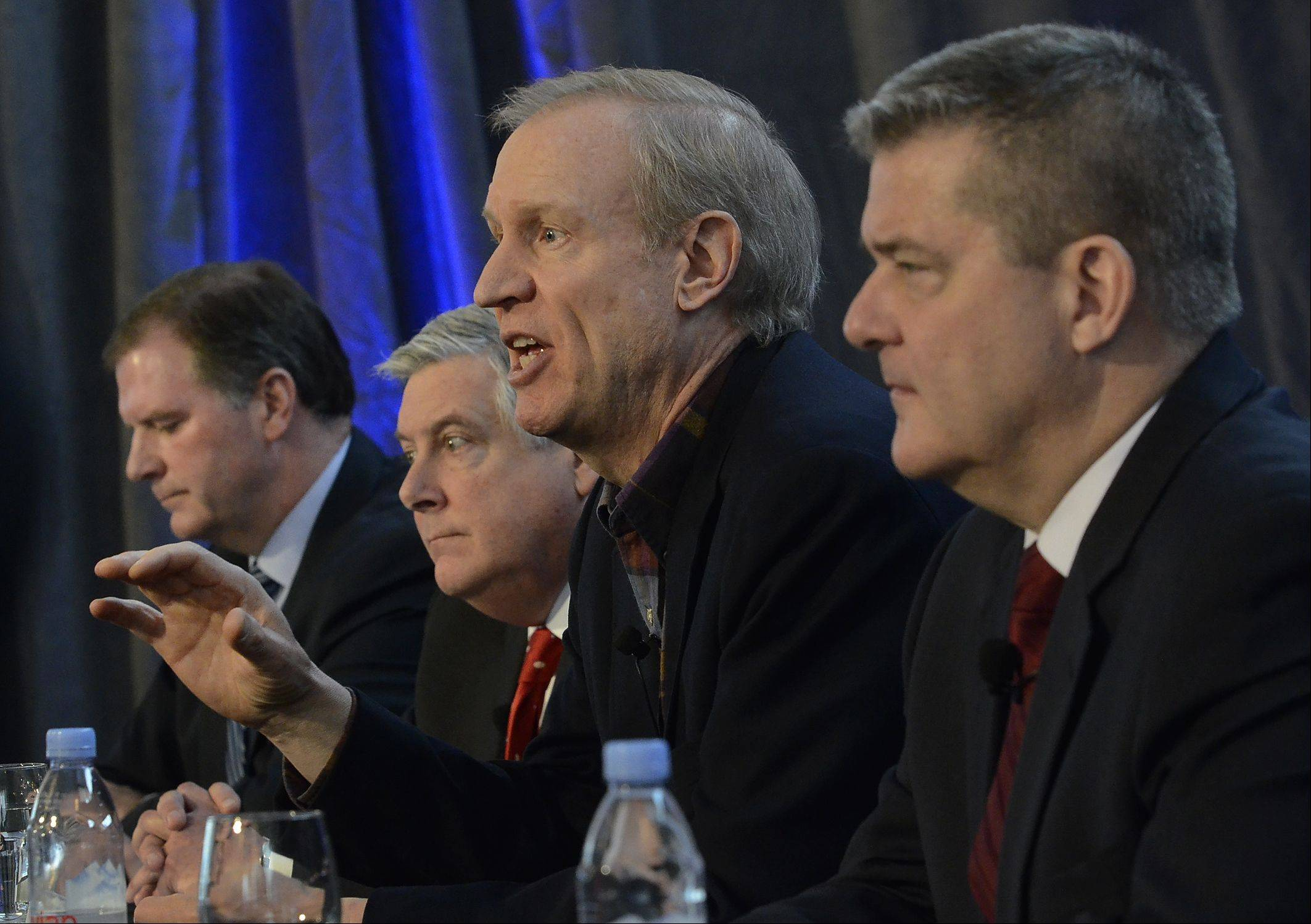 GOP gubernatorial candidates, from left, state Sen. Bill Brady, state Sen. Kirk Dillard, Bruce Rauner, and Illinois Treasurer Dan Rutherford talk Thursday about issues important to them at a candidates forum in Mount Prospect.