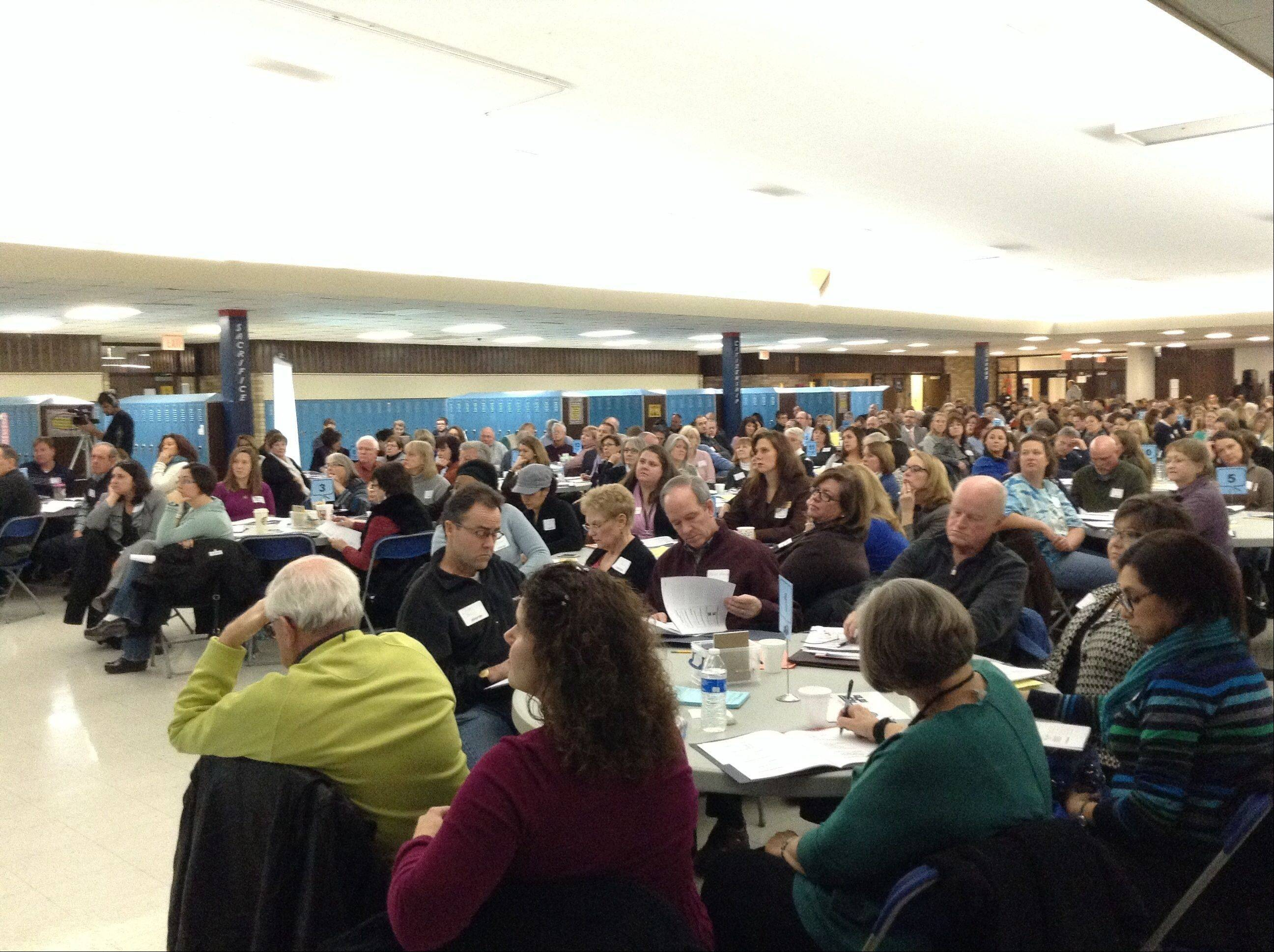 More than 400 people attended Wheaton Warrenville District 200's first Engage200 community engagement session on Wednesday at Monroe Middle School in Wheaton.