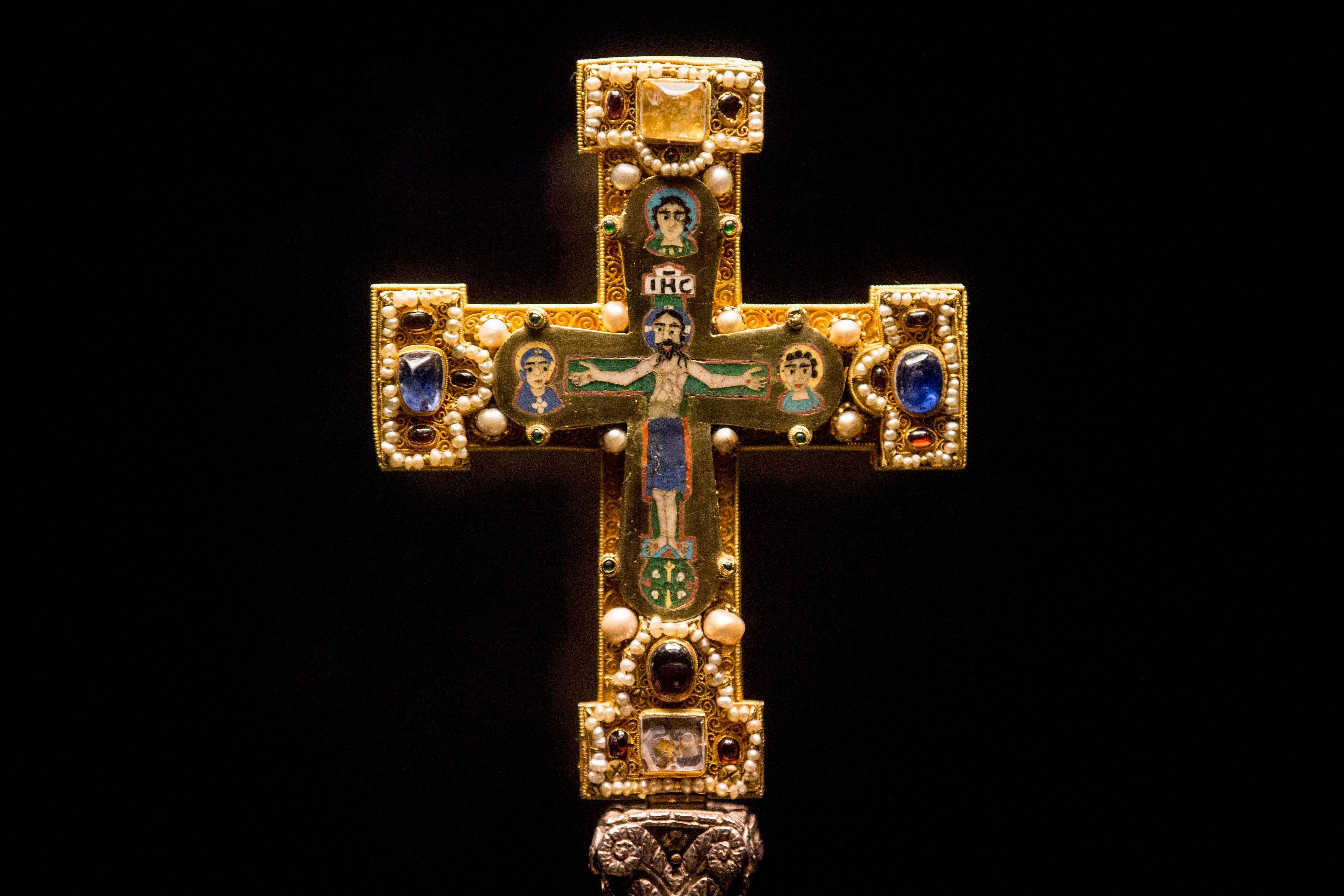 A medieval Cross, part of the Welfenschatz, at the Bode Museum in Berlin.
