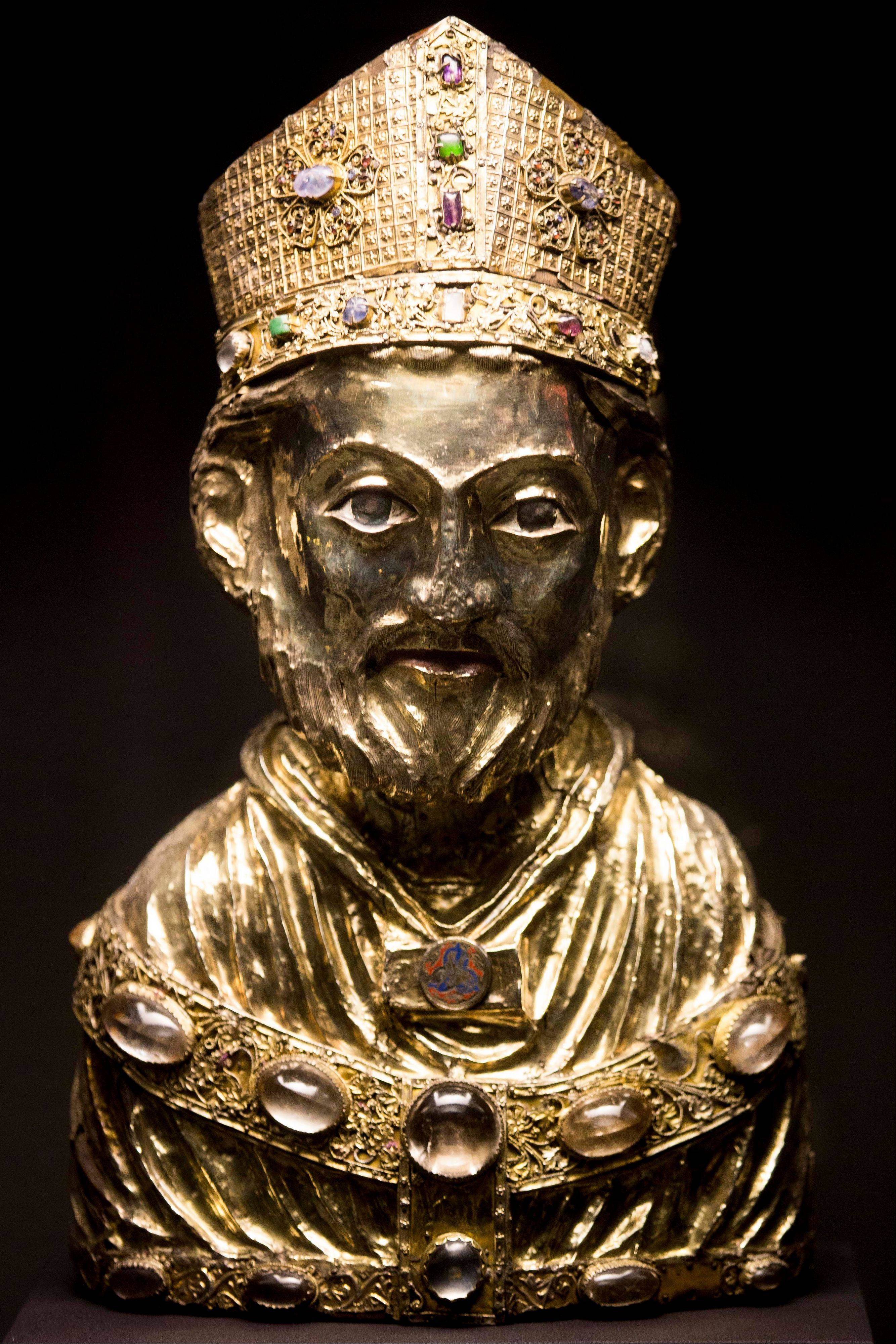 A medieval reliquary bust of St. Blaise.