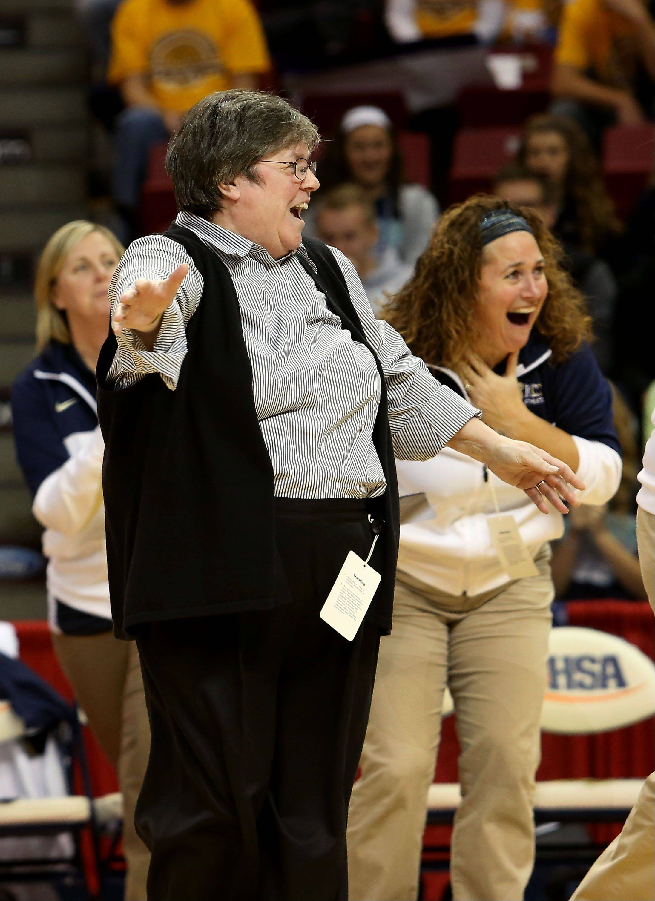 IC Catholic Prep head coach Jean Field reacts to her team's win over Deer Creek-Mackinaw in Class 2A state girls semi-final volleyball.
