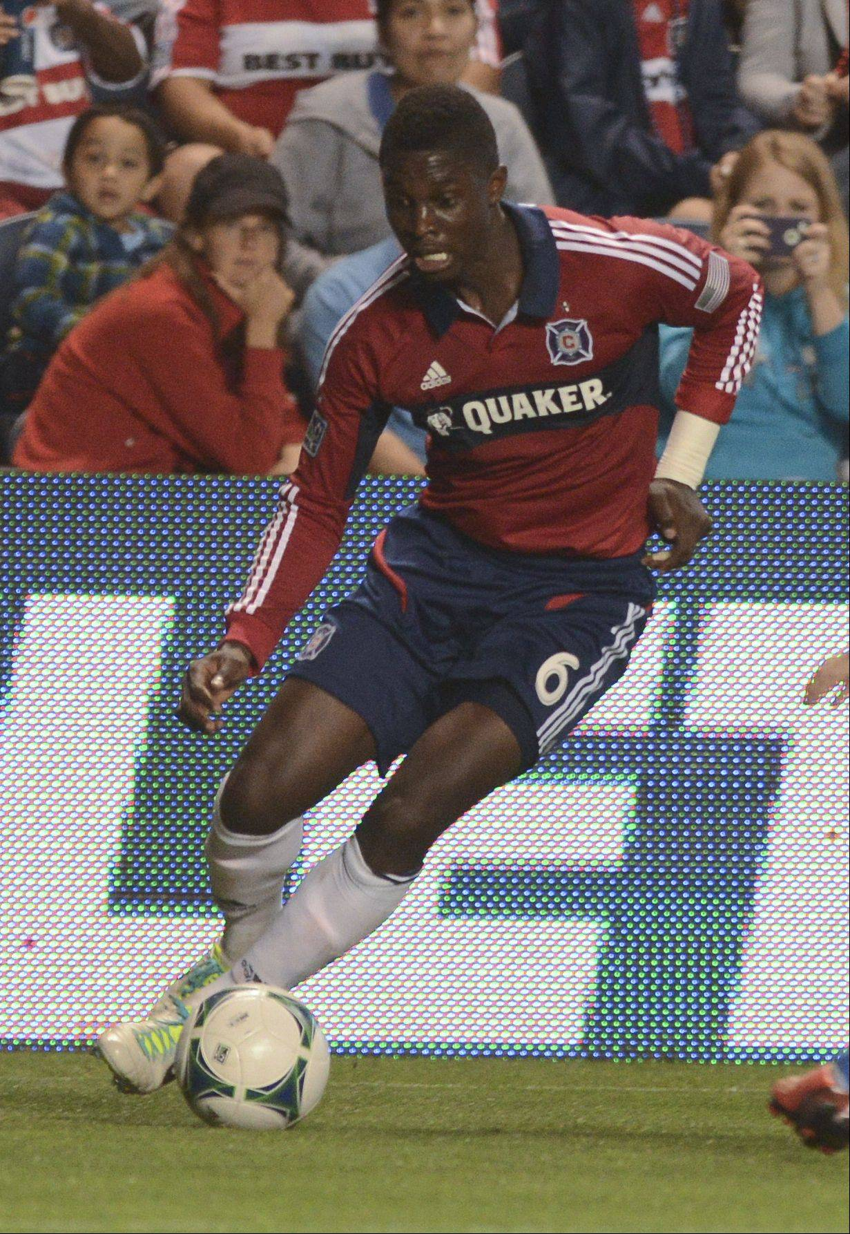 The Chicago Fire traded Jalil Anibaba to Seattle for two veteran central defenders.
