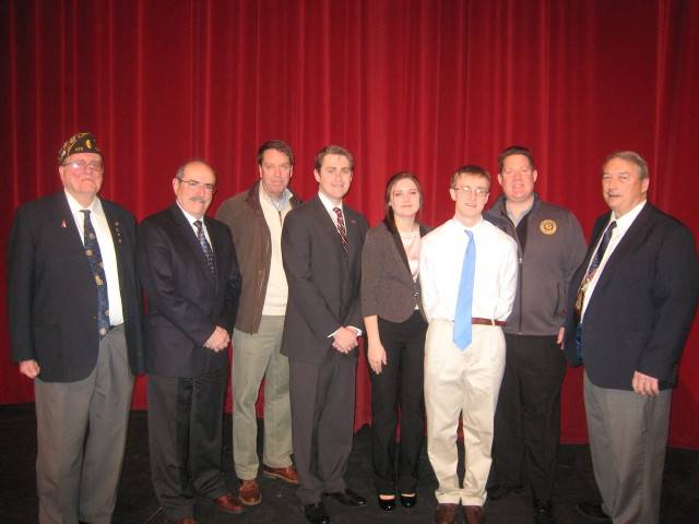 From left to right:  Ron Carlson-Past 10th District Commander, former  Wauconda Superintendent of Schools Dr. John Barbini, Assistant States Attorneys Jeff Paulitic, & Rod Drobinski, Rachel Menhart, Eric Gier, Lake County States Attorney Michael Nerheim, William Geary, 10th District Americanism Chairman.
