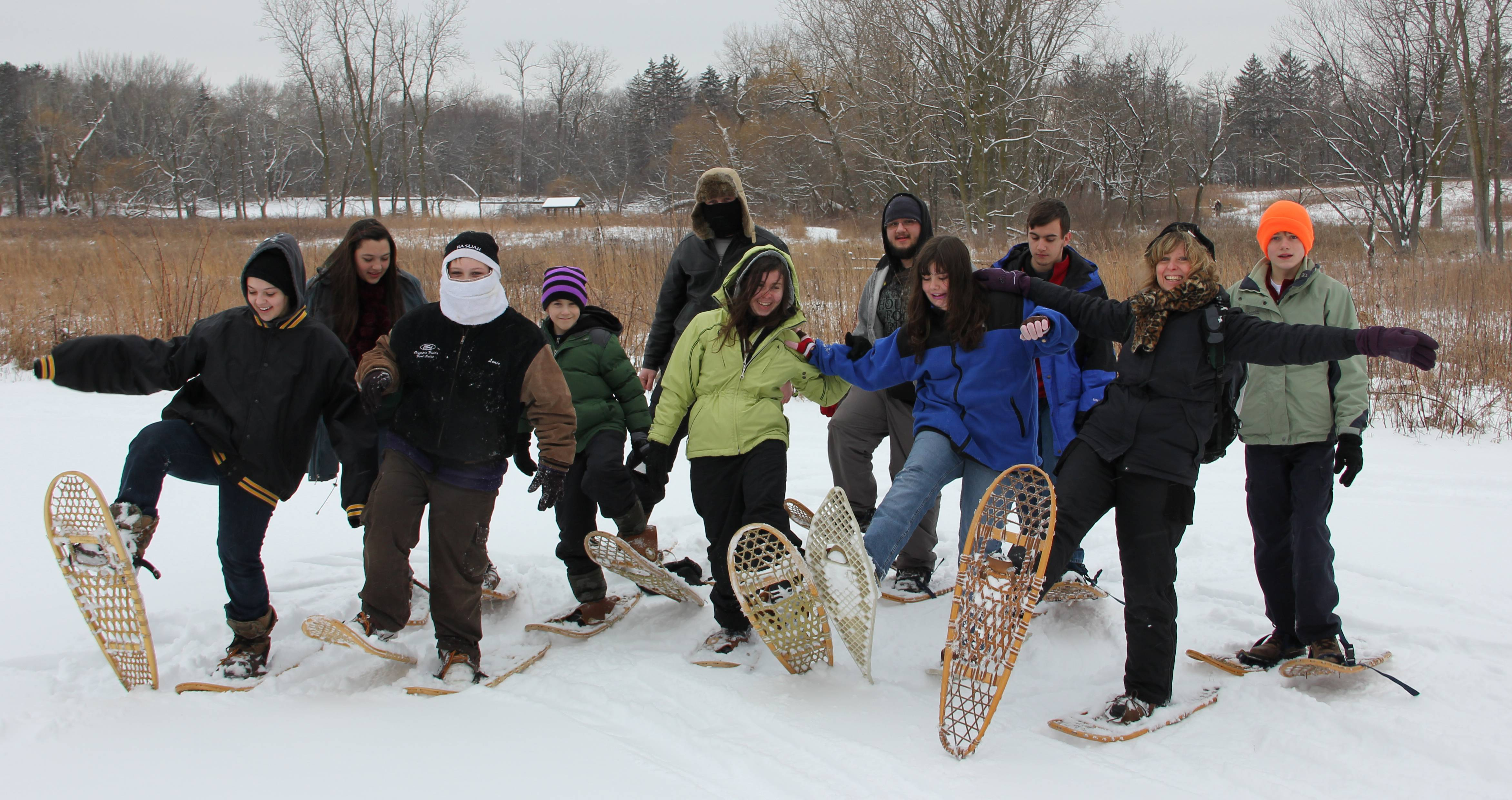 A group snowshoes at Spring Valley.