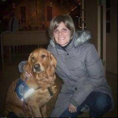 Lori Schutz with Comfort Dog Bekah.