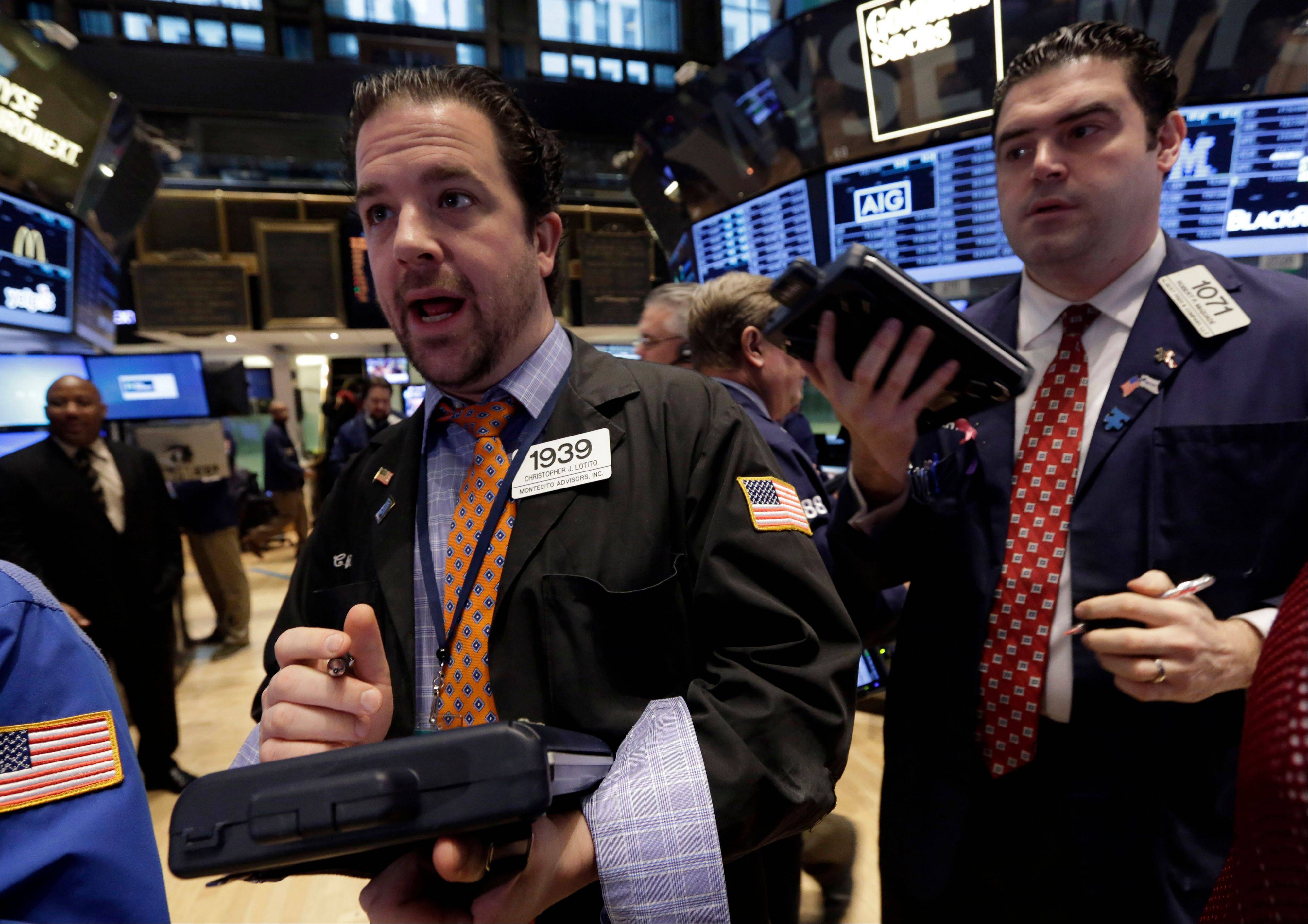 Stocks fell Thursday, after the Standard & Poor�s 500 Index closed at a record a day earlier, as Best Buy Co. tumbled and earnings at companies from Citigroup Inc. to CSX Corp. disappointed investors.