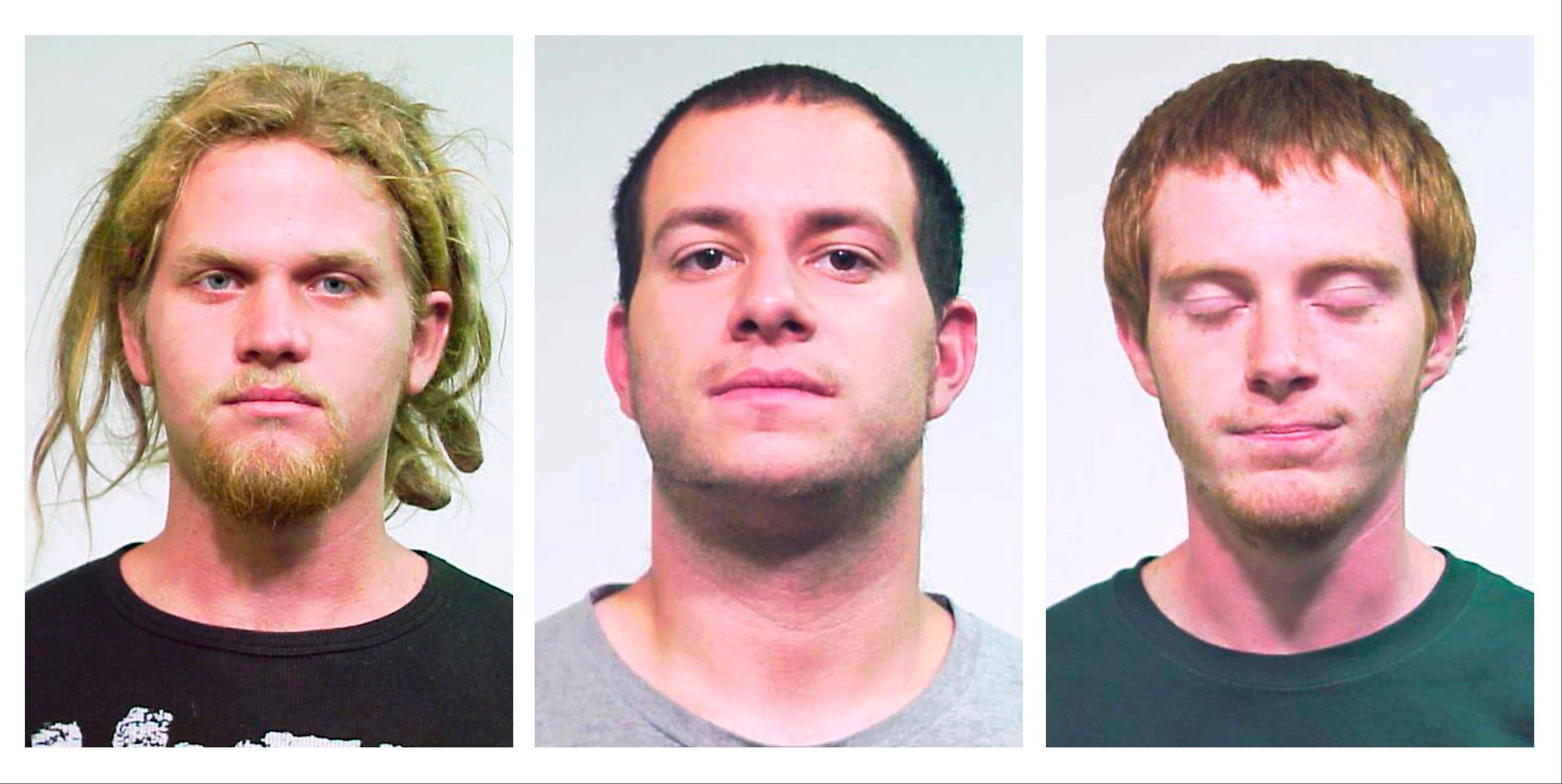 Brent Vincent Betterly, from left, Jared Chase and Brian Church are charged with conspiracy to commit terrorism and providing material support for terrorism.