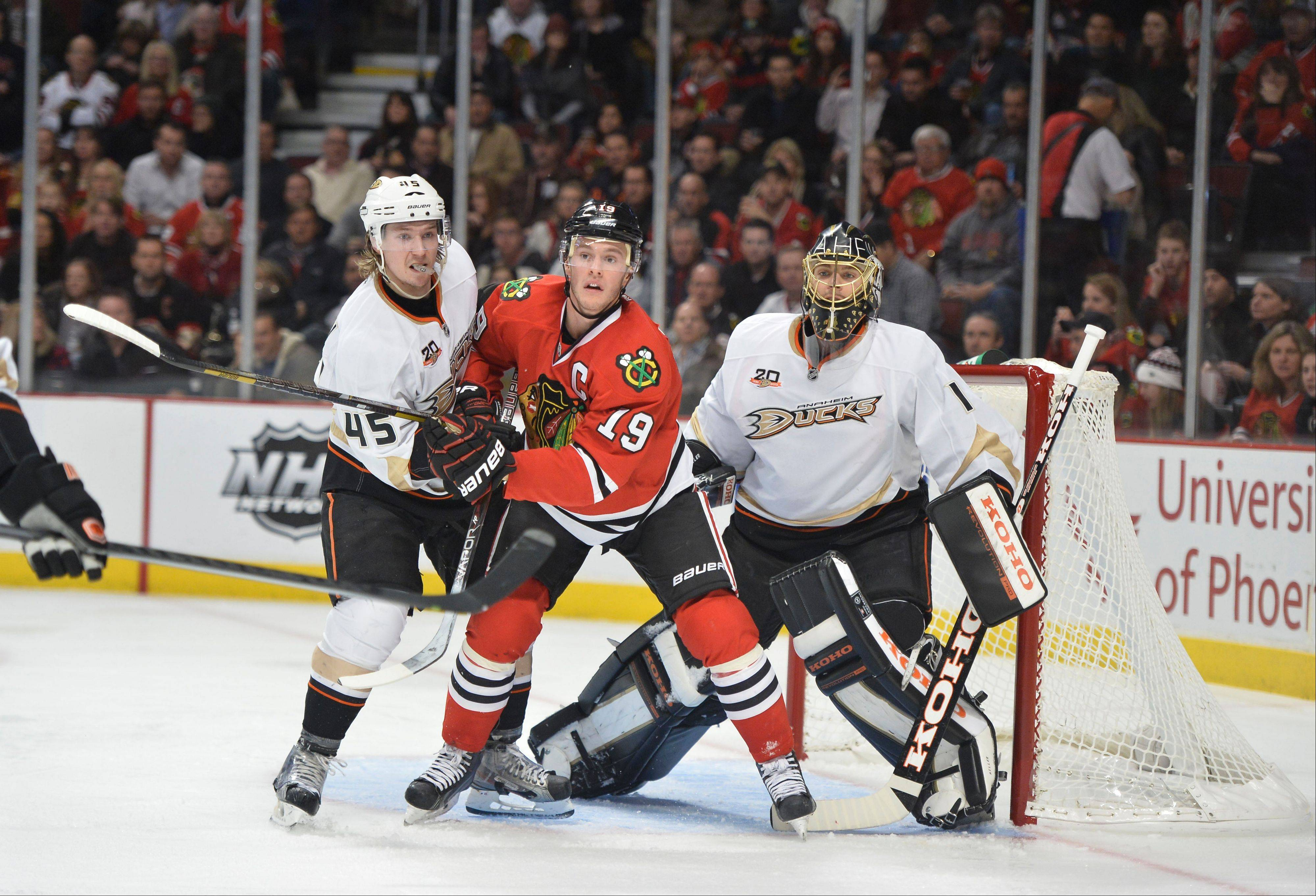 Blackhawks captain Jonathan Toews tried to screen Anaheim Ducks goalie Jonas Hiller when the teams met last month in Chicago. The Ducks, who won that game 3-2, have a six-point lead on the Blackhawks in the Western Conference.
