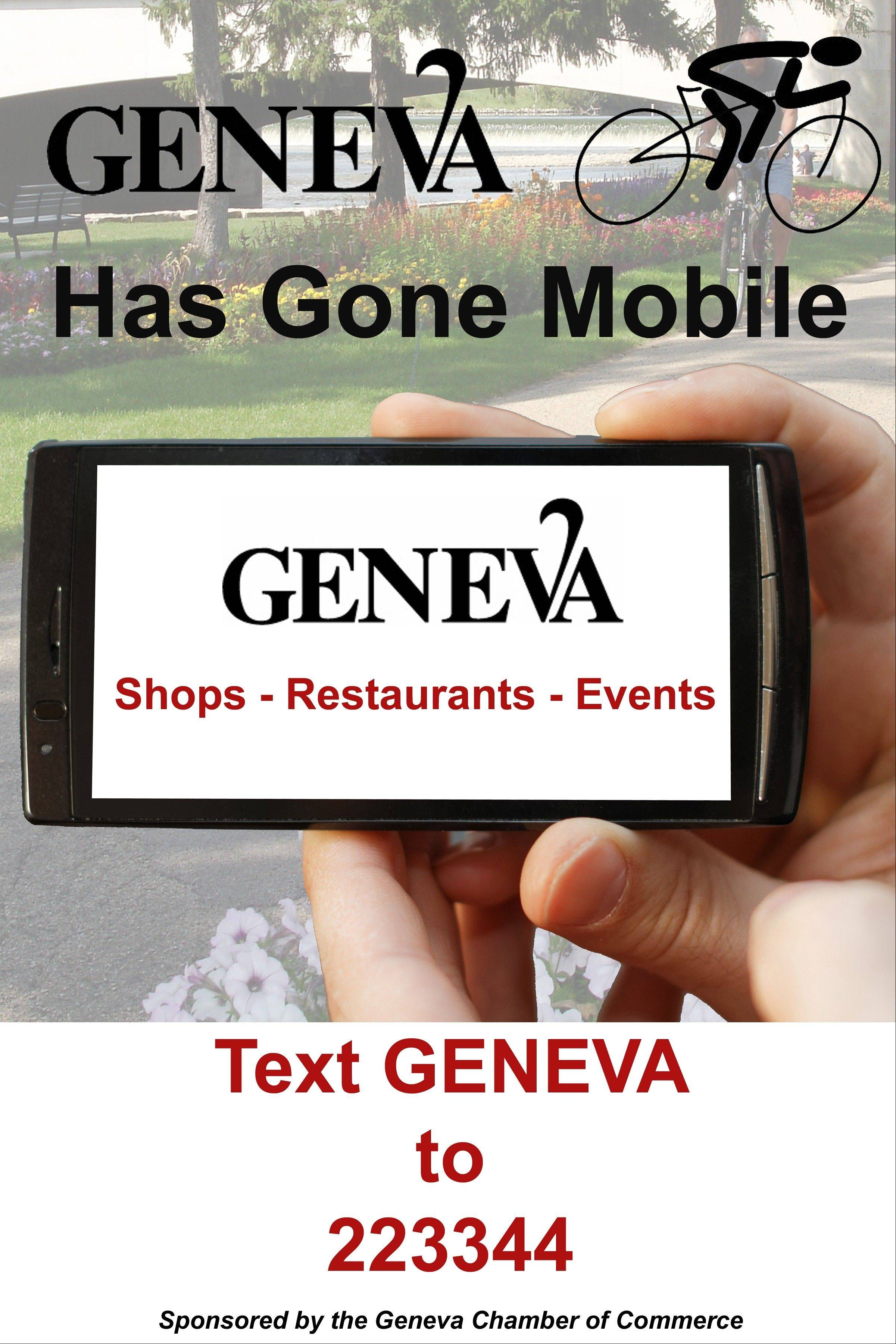 This is a copy of the poster used by the merchants during the Geneva's Gone Mobile campaign, where consumers received text messages on their smartphone that included specials at local stores.
