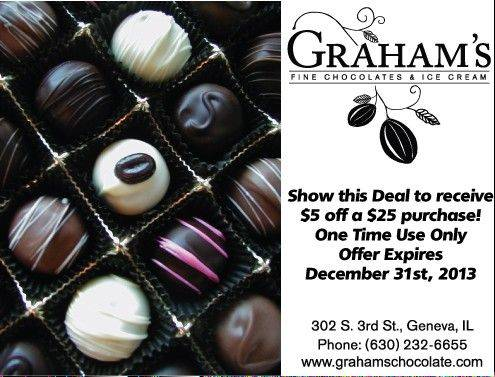 Graham's Chocolates sent out this text to subscribers of Geneva's Gone Mobile.