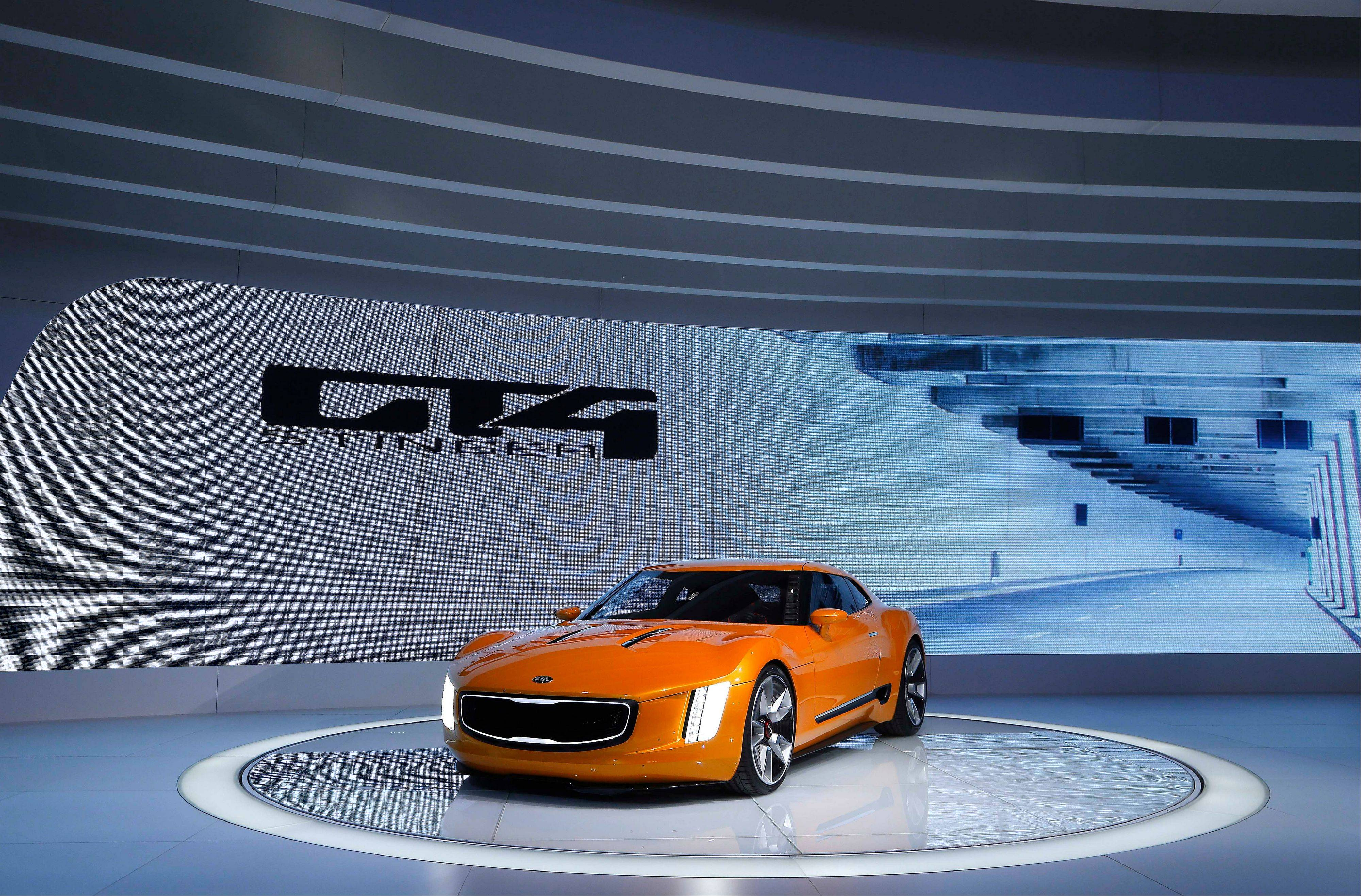 The Kia GT4 Stinger concept debuts during media previews during the North American International Auto Show in Detroit this week.