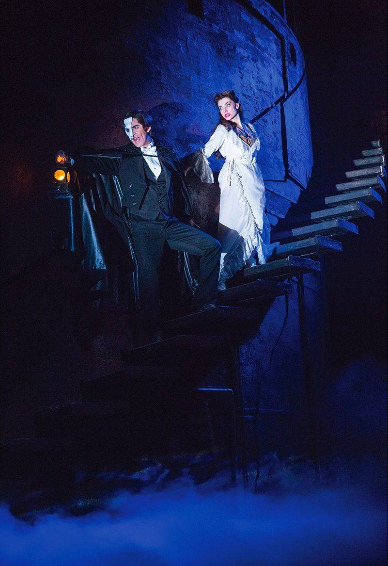 "Cooper Grodin's Phantom leads his prot�g� Christine (Julia Rose Udine) into his subterranean lair in producer Cameron Mackintosh's new North American touring production of Andrew Lloyd Webber's ""The Phantom of the Opera."""