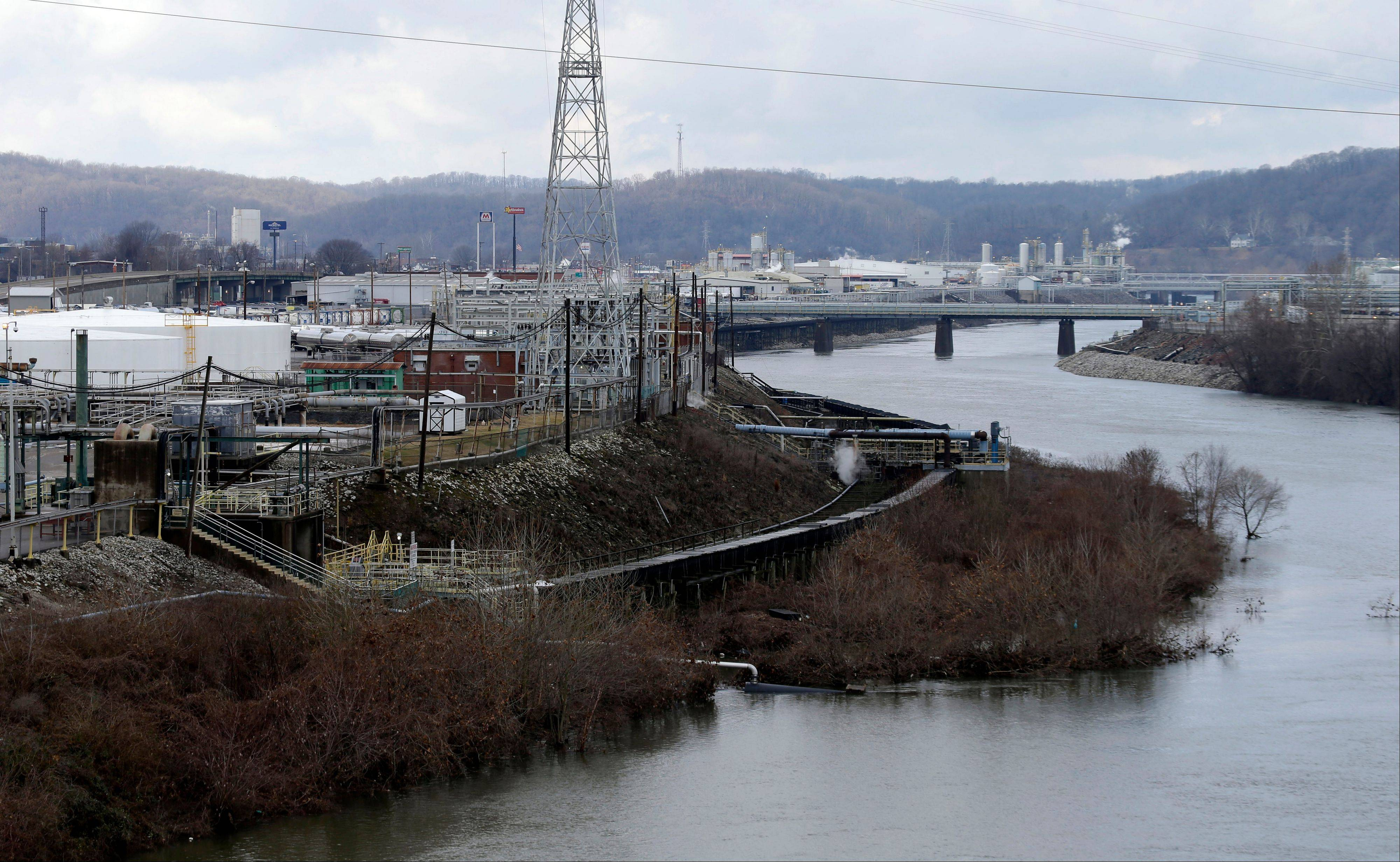 A chemical plant along a branch of the Kanawaha River in South Charleston, W.Va. Some homeland security experts believe the United States hasn't done nearly enough to protect water systems from accidental spills or deliberate contamination.