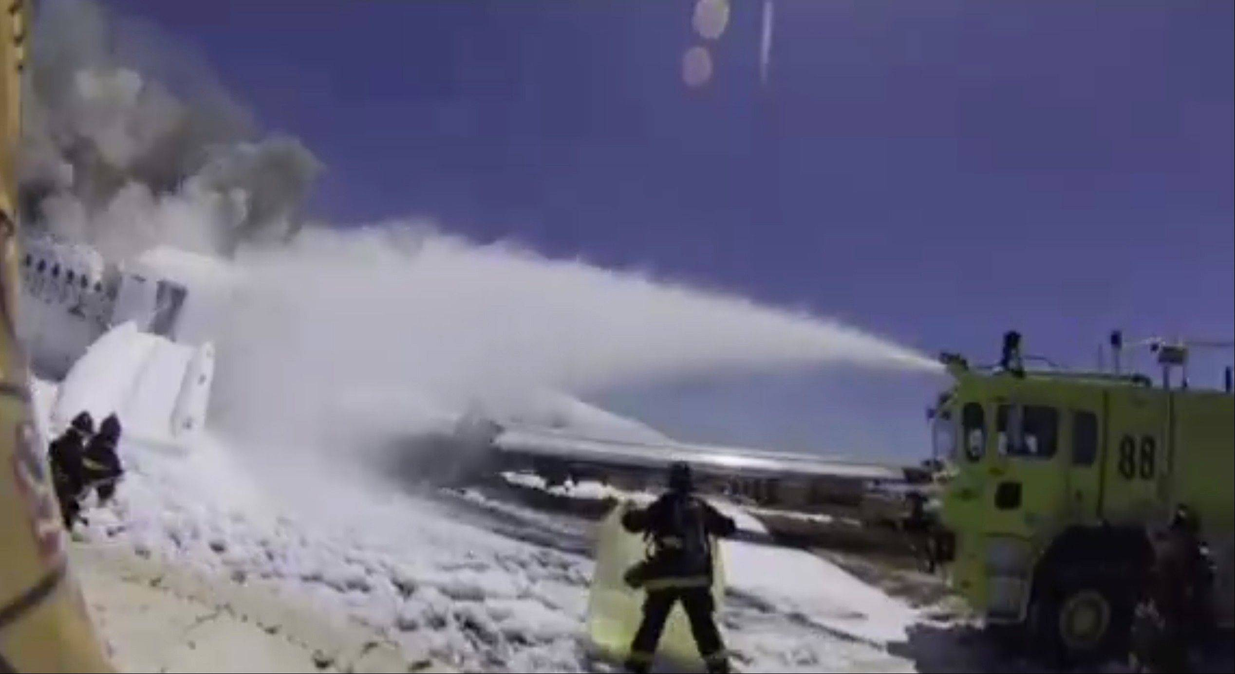 Video footage from the firefighter's helmet camera in the wake of the crash landing shows fire personnel were aware there was someone on the ground outside the plane. Authorities have said that person, Ye Meng Yuan, was alive following the crash, but later run over and killed by a firetruck.