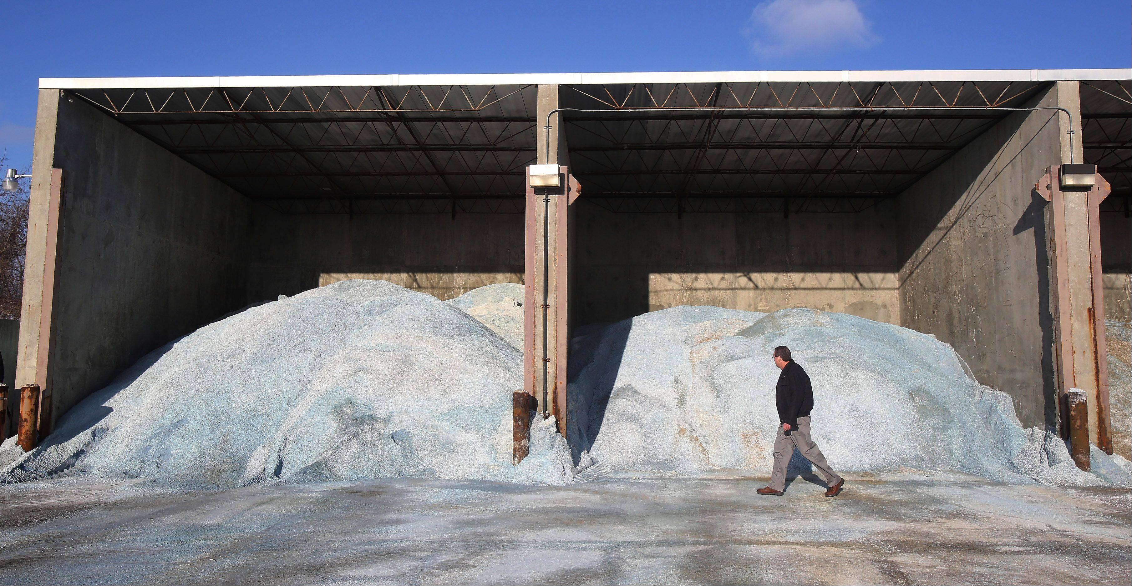 Libertyville Public Works Superintendent Marty Wittrock works at the village's salt storage units.