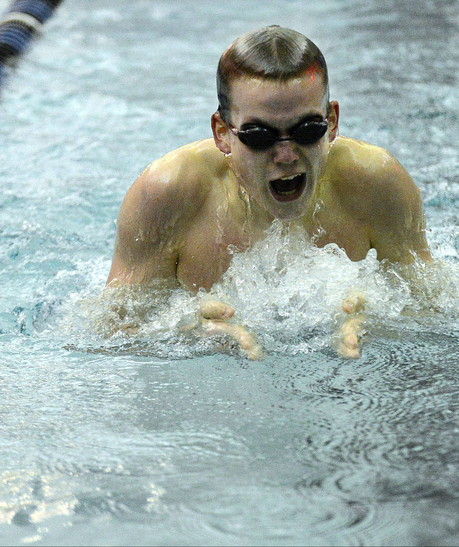 St. Charles North's Ross Davis won the 200-yard IM against St. Charles East on Thursday at St. Charles North.