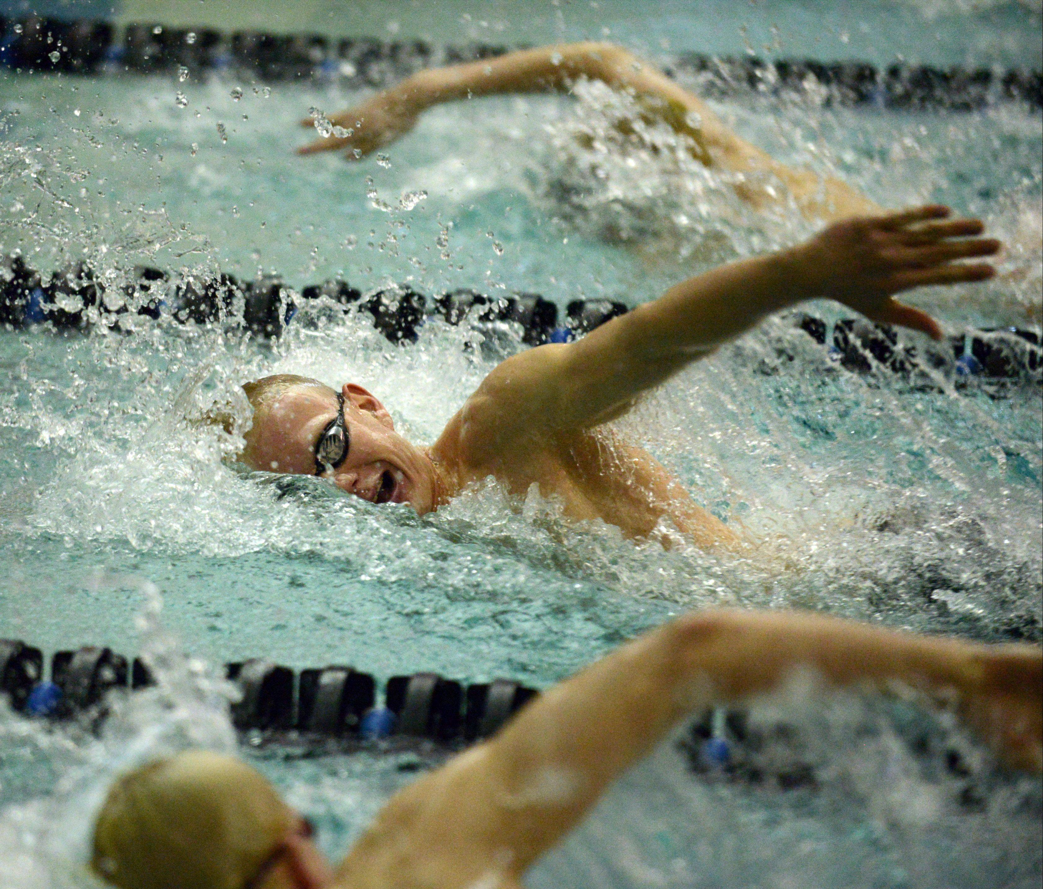St. Charles North's Benjamin Sherman finished second in the 200-yard freestyle Thursday.