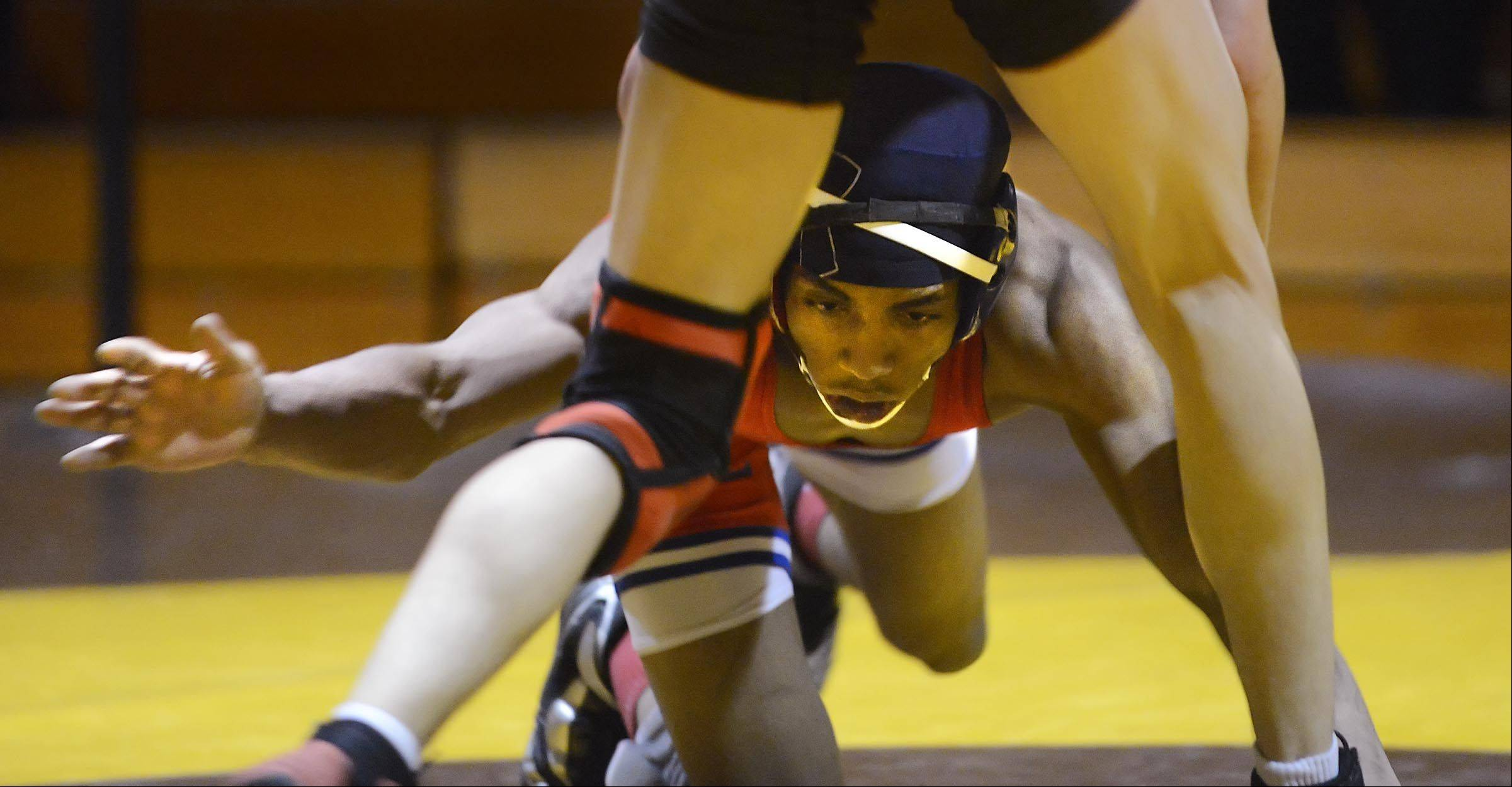 Dundee-Crown's Jequann Flynn shoots to take down Jacobs' Jacob Sabella in their 132-pound match Thursday in Algonquin.