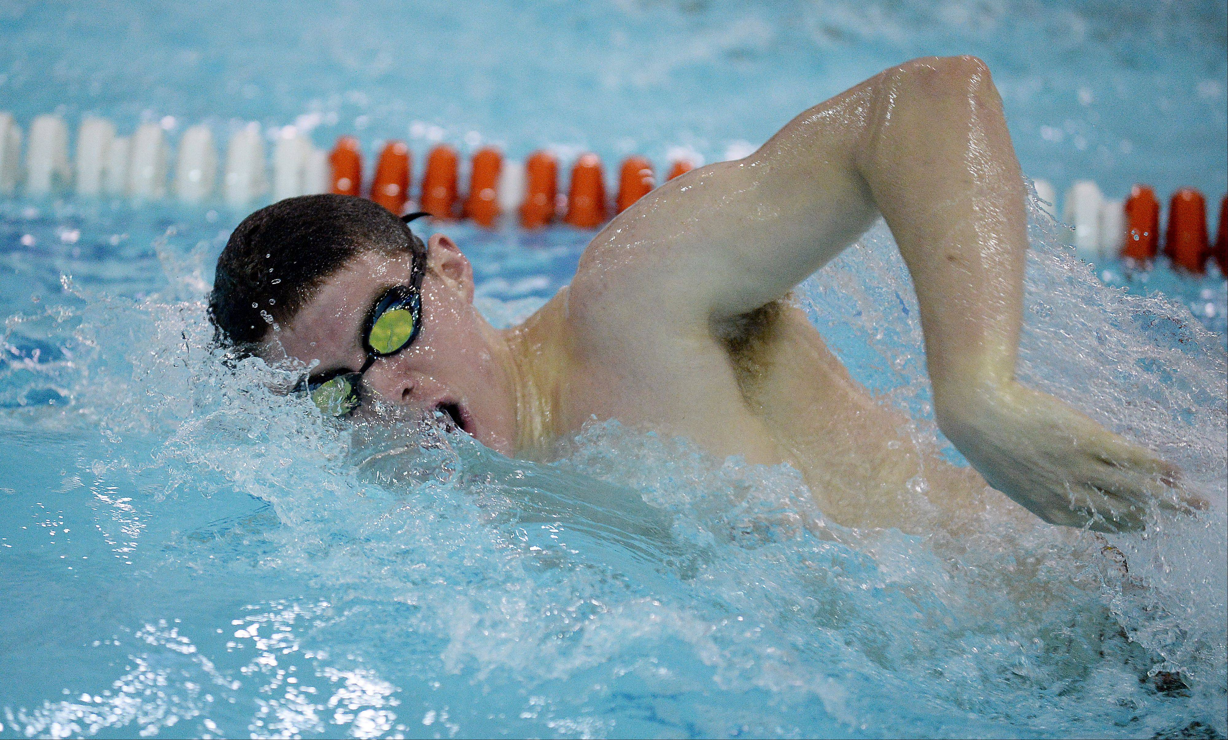 Hersey's Connor Reynolds heads for victory in the 100-yard freestyle against Buffalo Grove on Thursday.