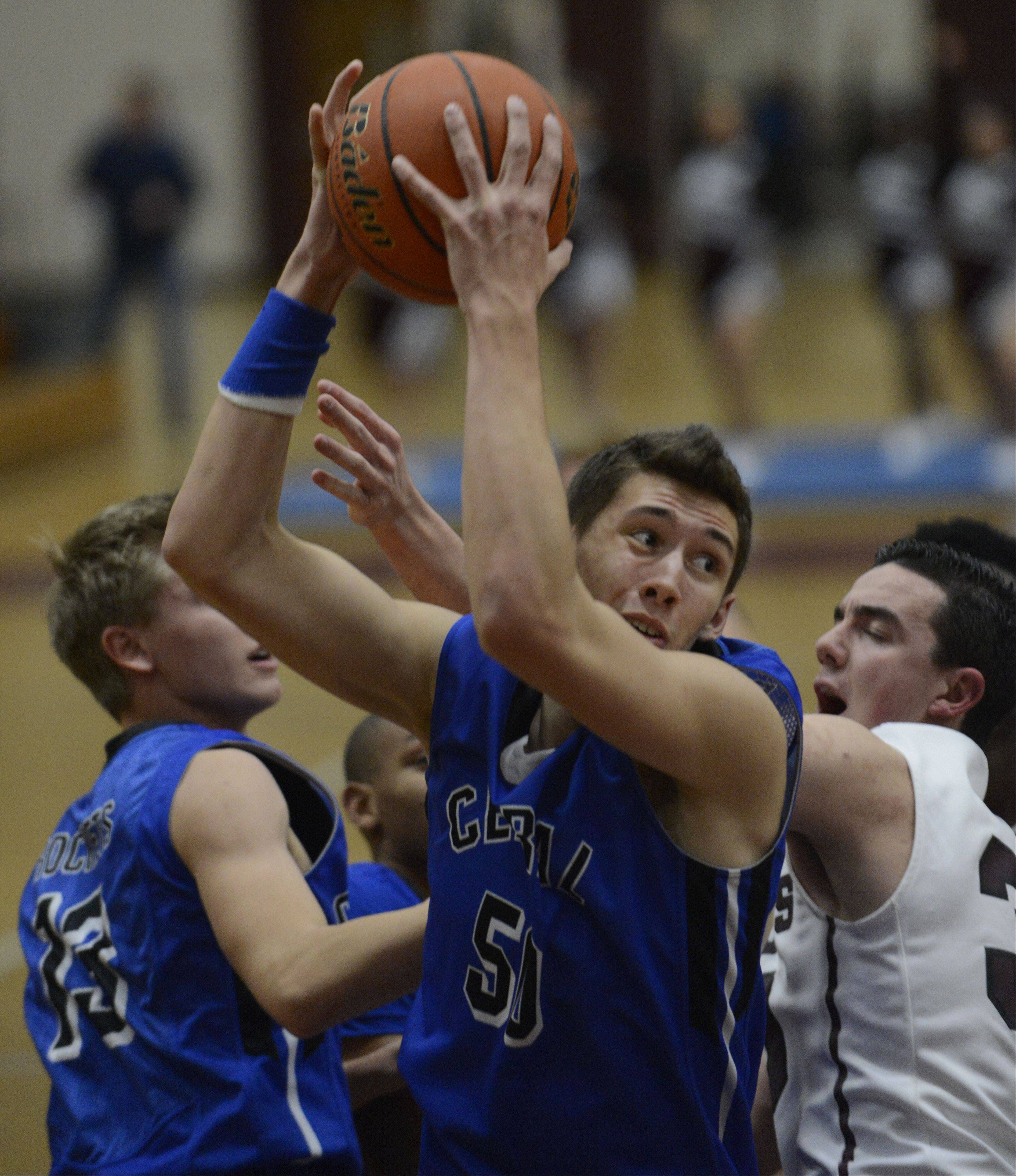Burlington Central's Duncan Ozburn (50) has become one of the area's most improved players.