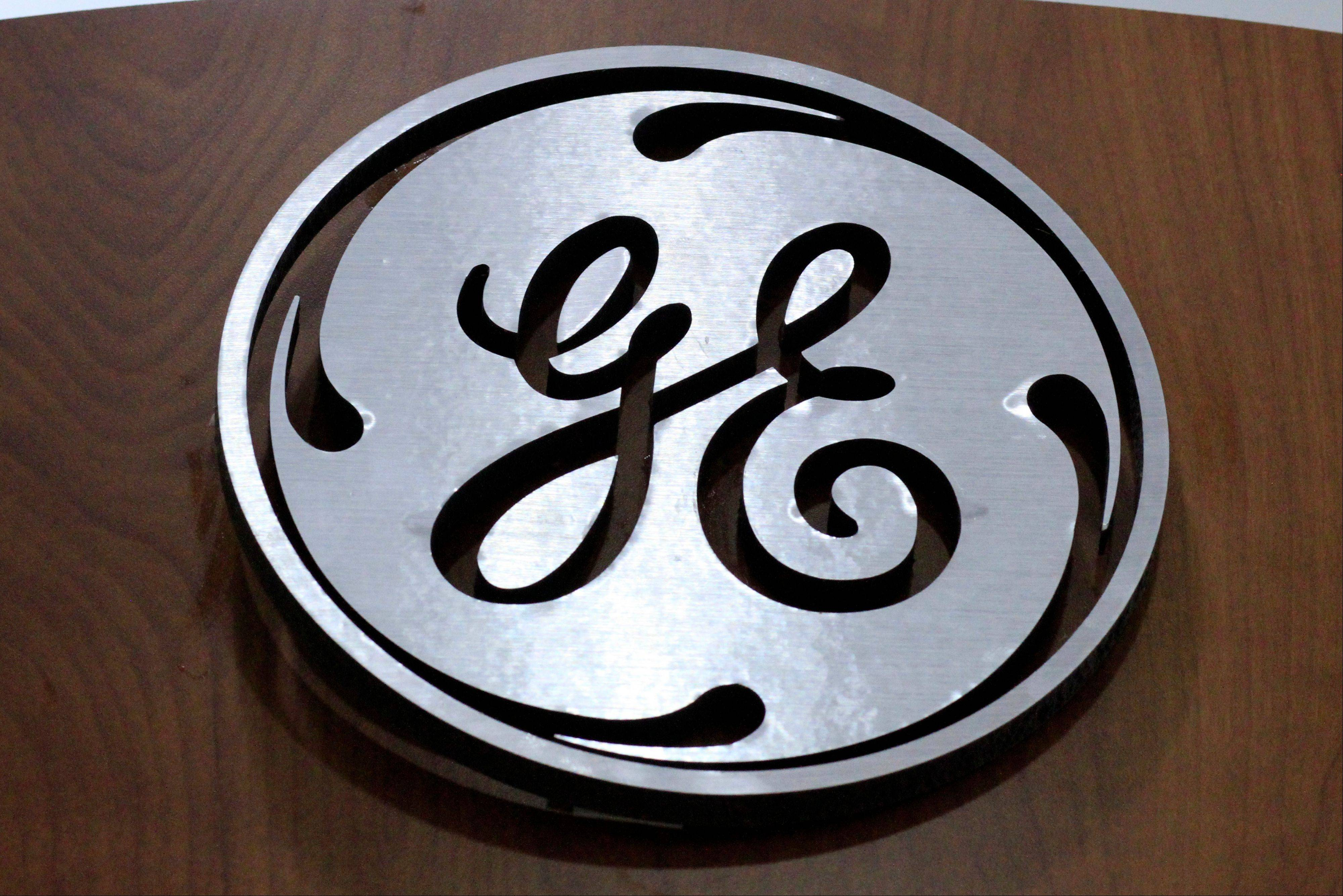 A General Electric logo is displayed on a kitchen appliances Thuirsday in an H.H. Gregg store in Cranberry Township, Pa. General Electric Co. reported quarterly financial results Friday and its stock slumped 62 cents, or 2.3 percent, to $26.58 after profit margins in the company's industrial unit fell short of its own targets.