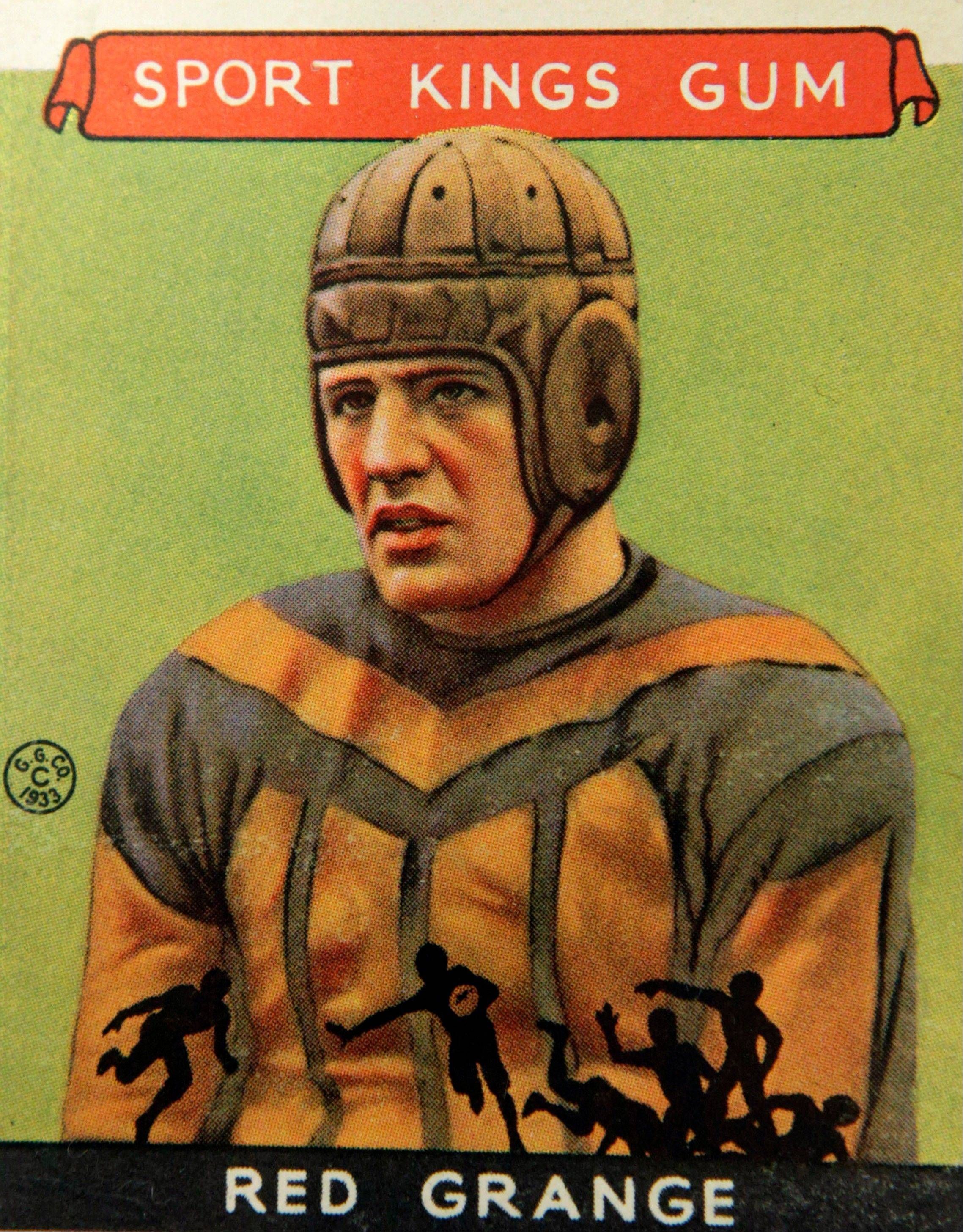 "A Red Grange football trading card is part of the ""Gridiron Greats"" exhibit at the Metropolitan Museum of Art in New York. The pop-up exhibition of 150 cards, including a series from 1894, are part of the museum's vast collection of sport trade cards donated to the Met by the late hobby pioneer Jefferson Burdick."