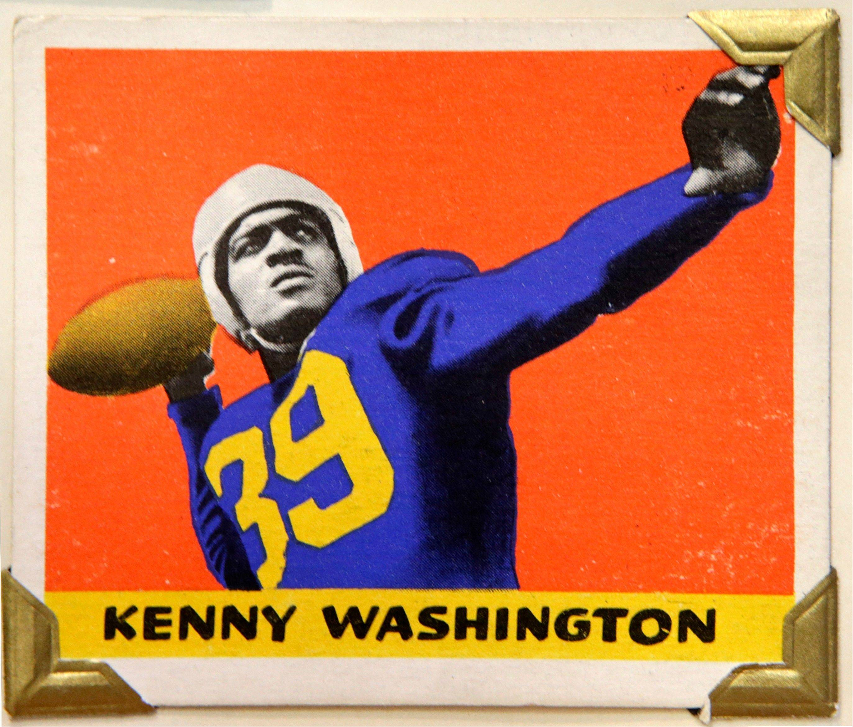UCLA tailback and Los Angeles Rams running back Kenny Washington is shown in this 1948 Leaf Gum Company football trading card at the Metropolitan Museum of Art in New York.