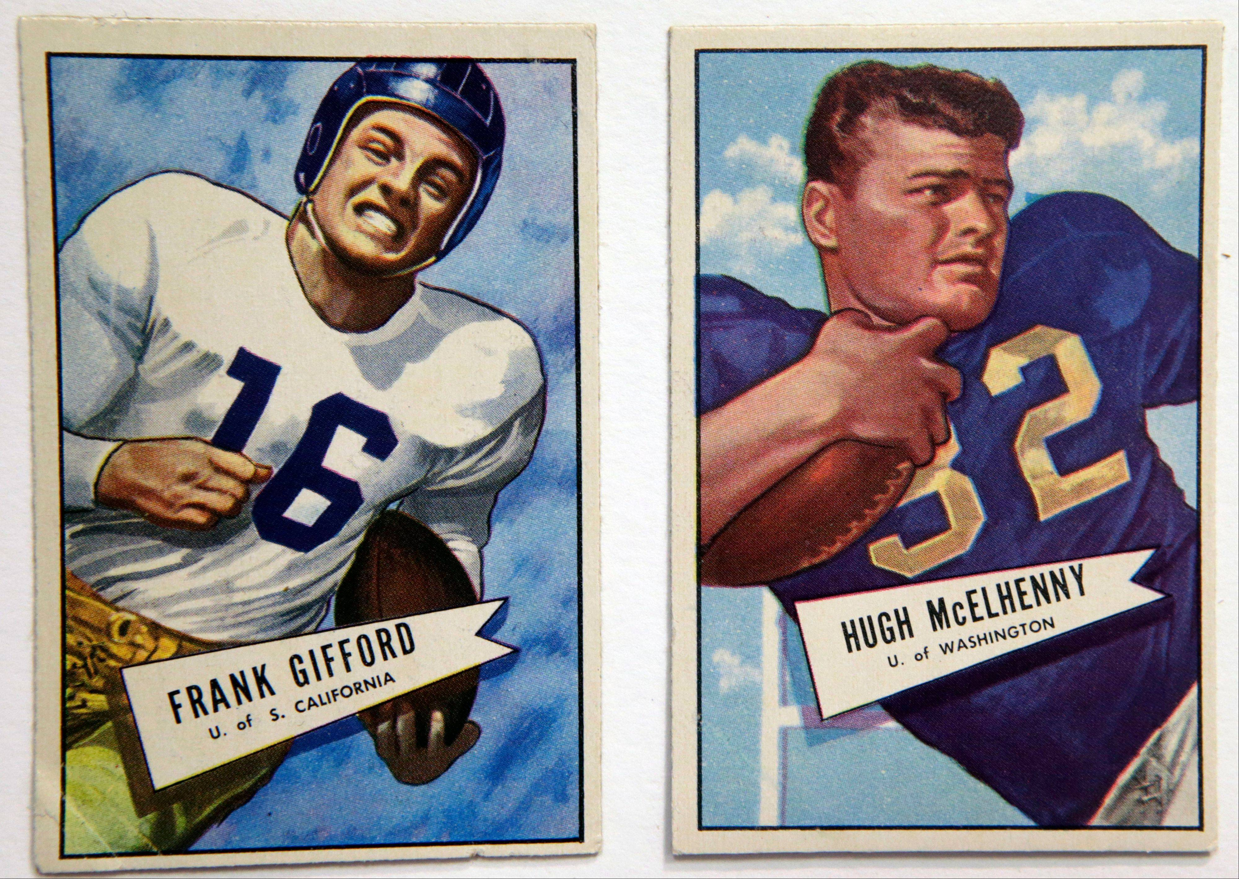 A University of Southern California 1952 card of football star Frank Gifford, the New York Giants' No. 1 draft pick, will be on display at the Metropolitan Museum of Art in New York. The cards are part of a pop-up exhibition at the Met celebrating football's history through the ages with vintage trading cards.