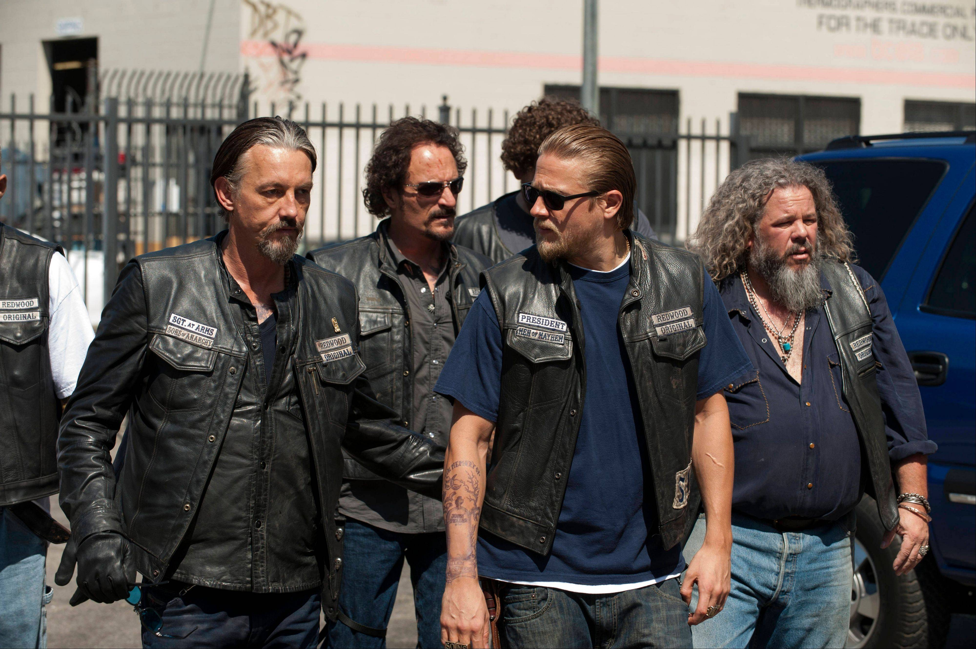 "FX's ""Sons of Anarchy"" -- including Tommy Flanagan, left, as Chibs, Kim Coates as Tig, Charlie Hunnam as Jax and Mark Boone Junior as Bobby -- is populated with characters who are brutish, yes, but still command our respect."