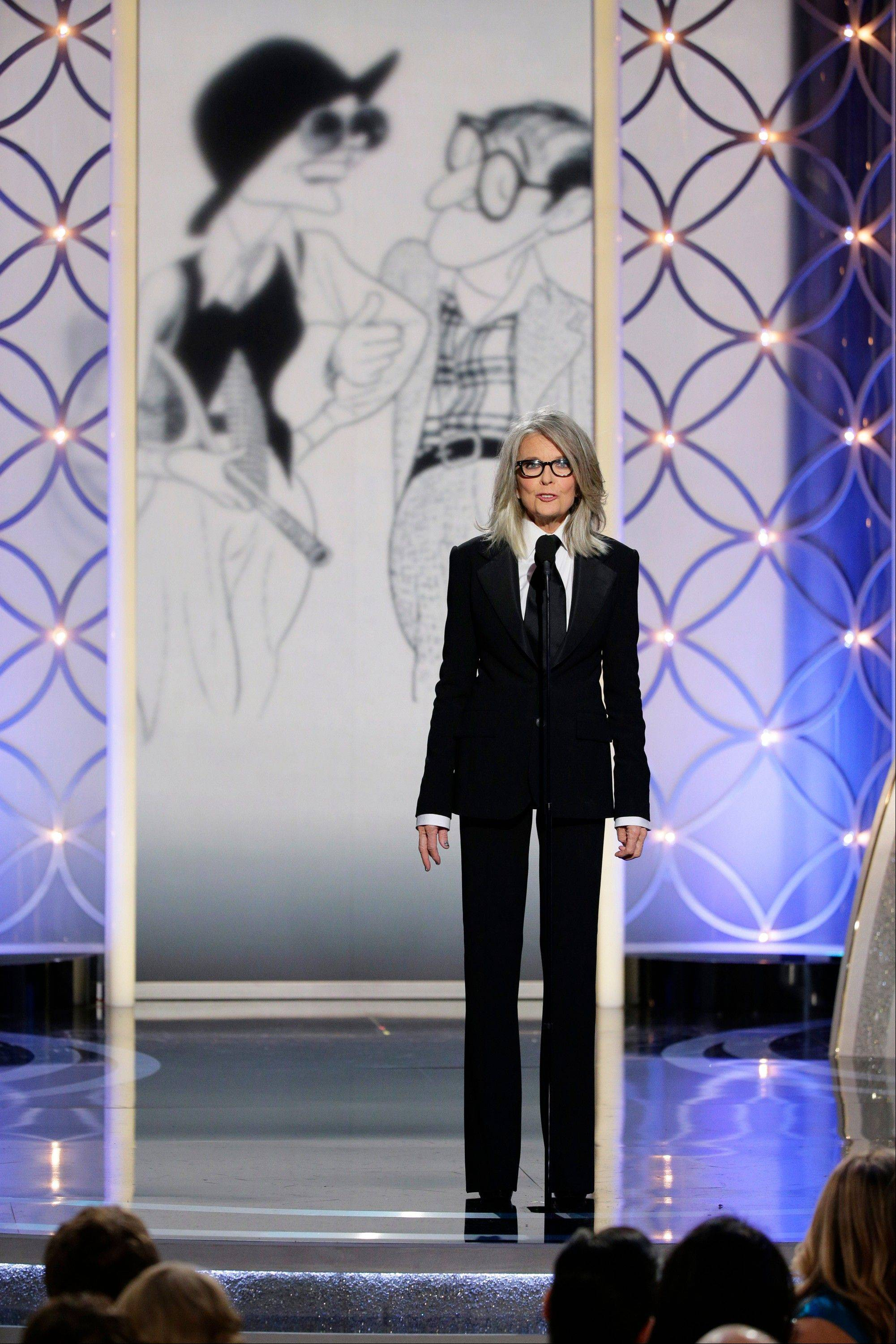 Diane Keaton accepted the Cecil B. DeMille award on behalf of Woody Allen during the 71st annual Golden Globe Awards on Sunday, Jan. 12.