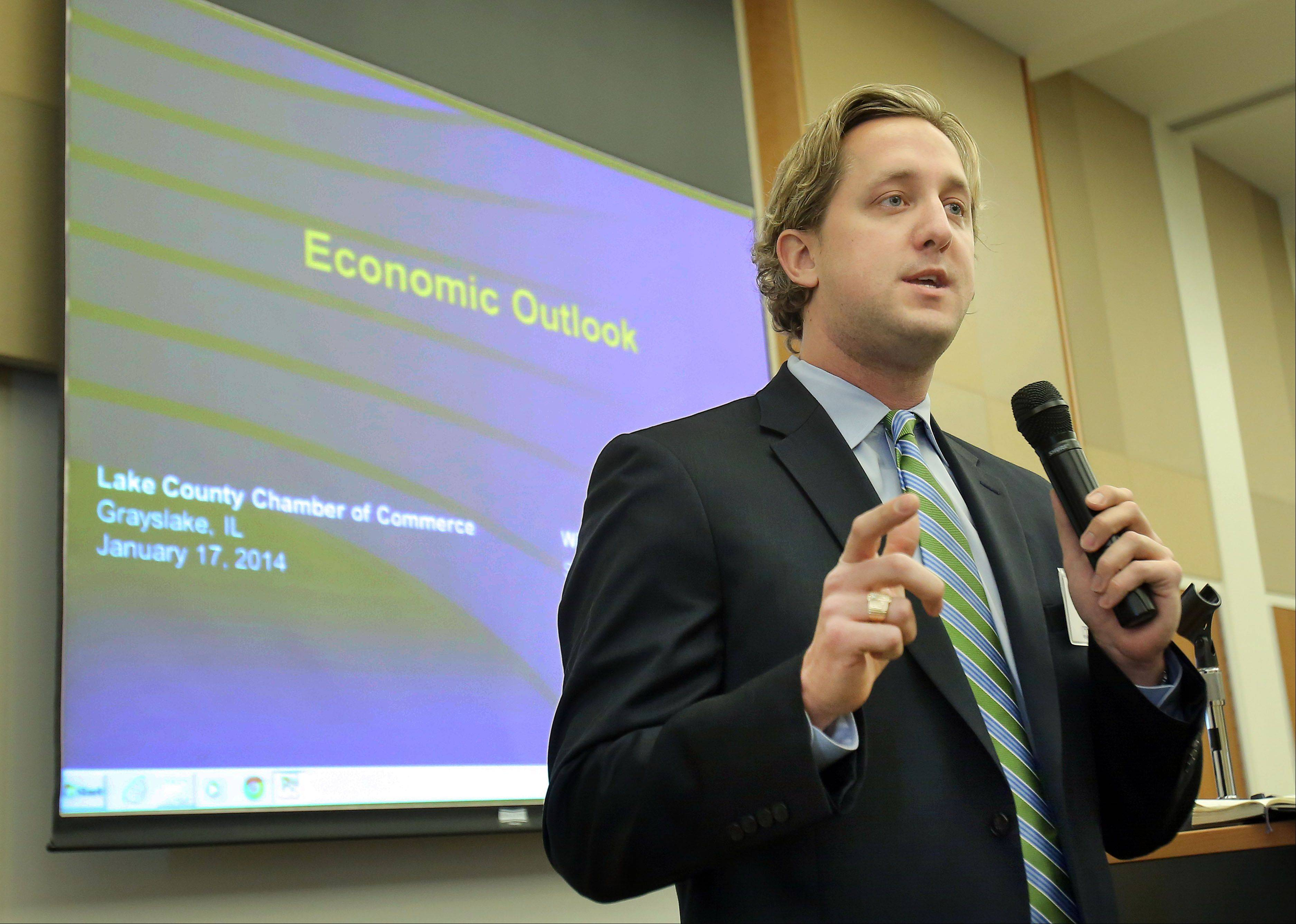 Lake County Board Chairman Aaron Lawlor talks about the next generation of workers during the 7th annual Economic Forecast Lake County luncheon Friday at the University Center at the College of Lake County in Grayslake.
