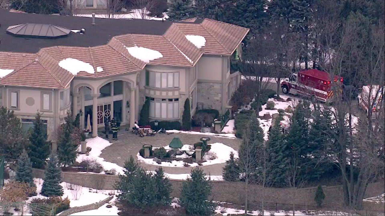 An aerial view of a home in the 2900 block of Oak Brook Hills Road in Oak Brook where a reported carbon monoxide leak killed an 86-year-old man.