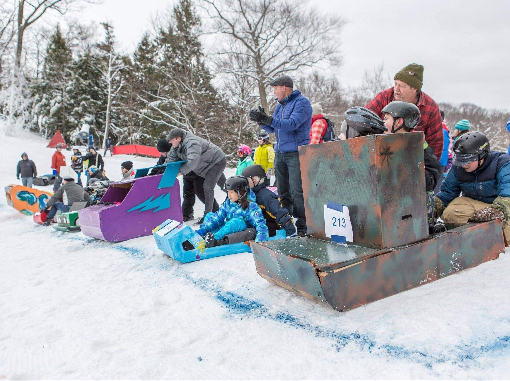 The cardboard and duct tape sled race is just one of the fun activities at Winterfest in Grand Haven, Mich., from Jan. 23-26.