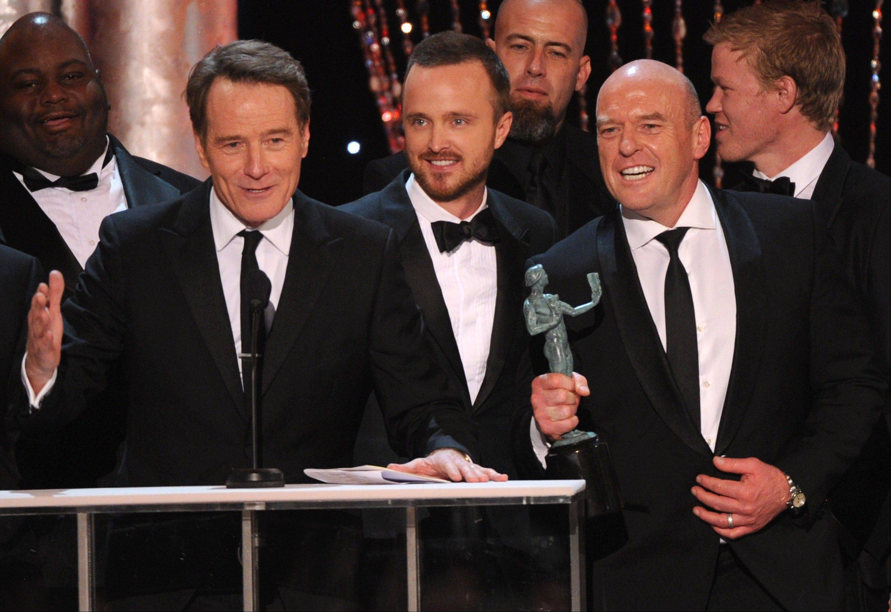 "From left, Bryan Cranston, Aaron Paul and Dean Norris accept the award for outstanding performance by an ensemble in a drama series for ""Breaking Bad"" at the 20th annual Screen Actors Guild Awards at the Shrine Auditorium on Saturday in Los Angeles."