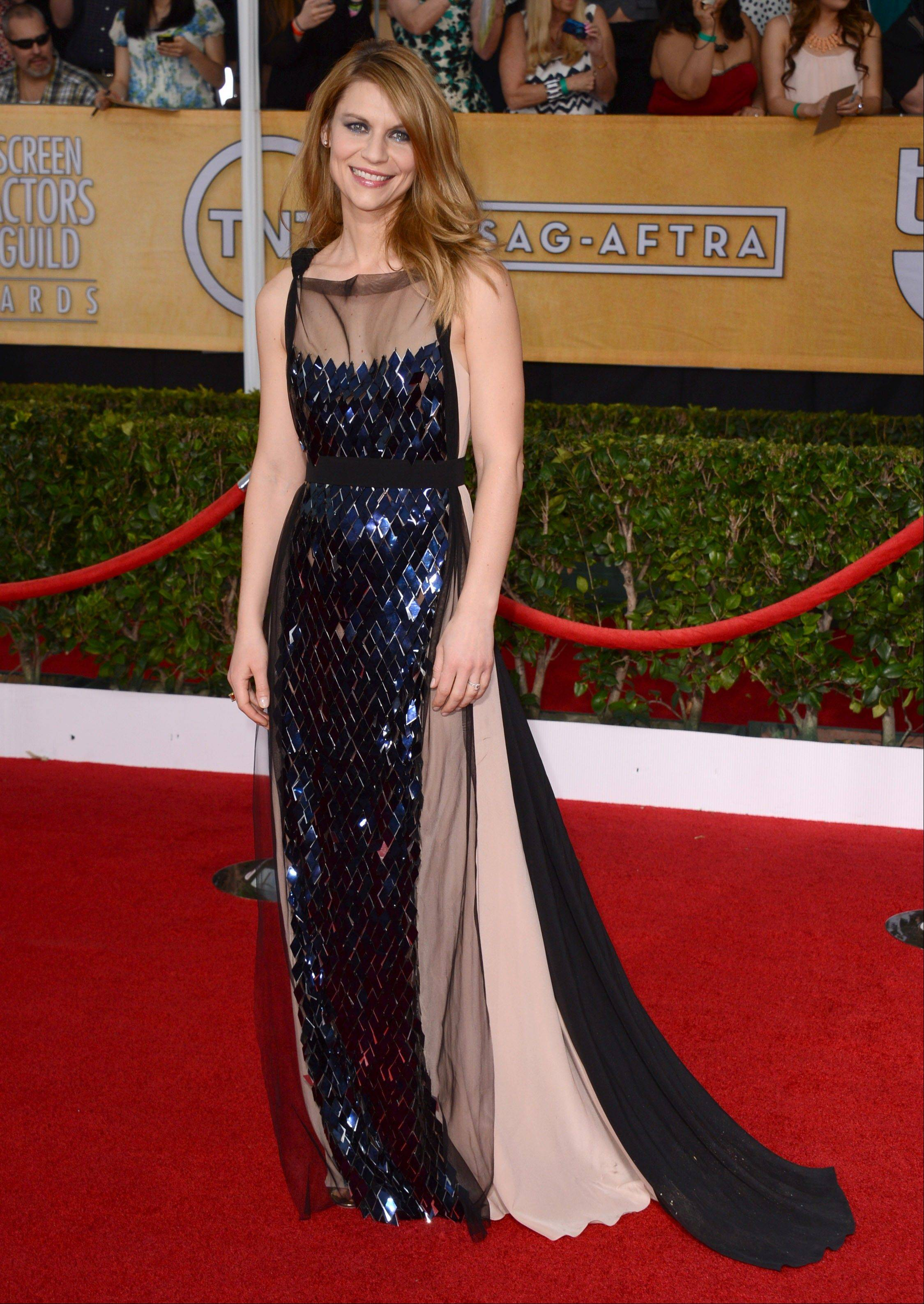 """Homeland"" star Claire Danes arrives at the 20th annual Screen Actors Guild Awards."